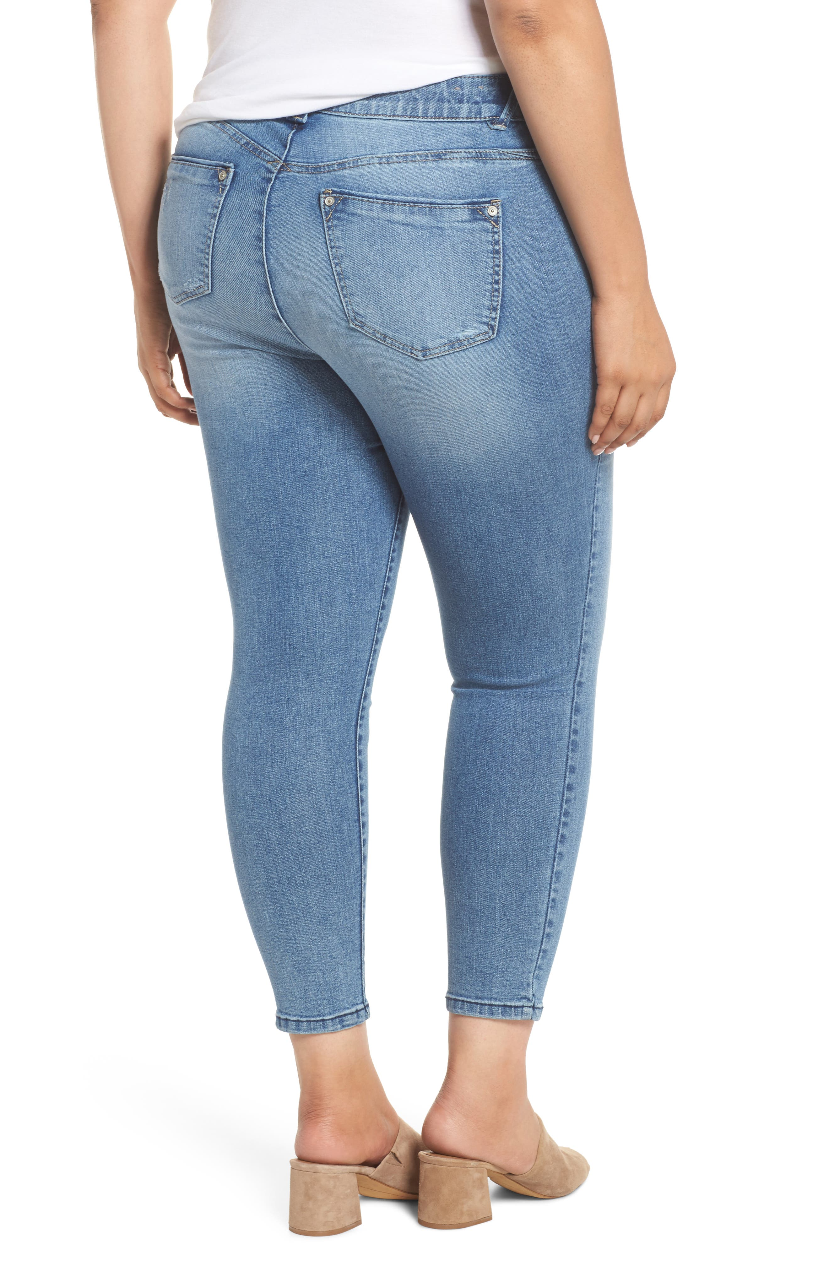 Ab-solution Stretch Ankle Skimmer Jeans,                             Alternate thumbnail 2, color,                             Light Blue