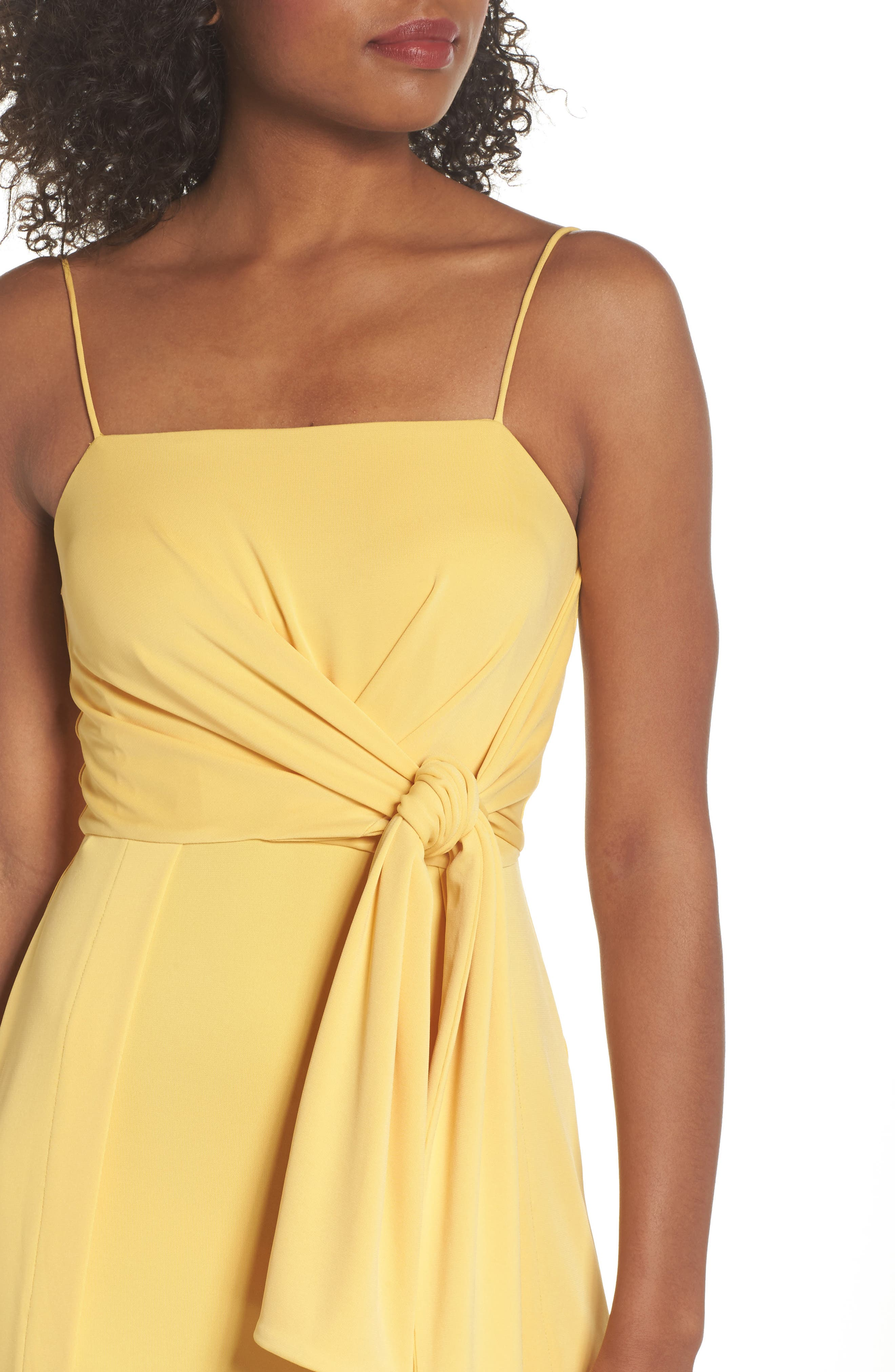 Recollect Slinky Side Tie Midi Dress,                             Alternate thumbnail 4, color,                             Honey
