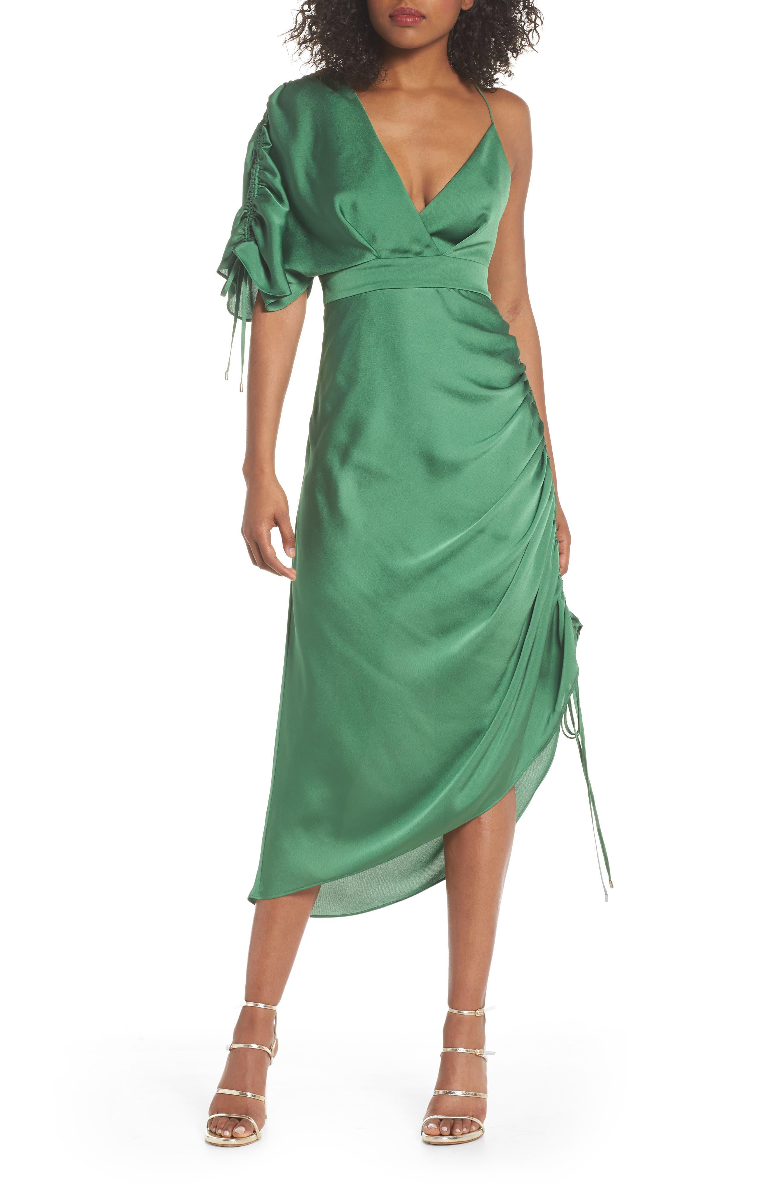 I've Got You Asymmetrical Satin Dress,                             Main thumbnail 1, color,                             Emerald Green
