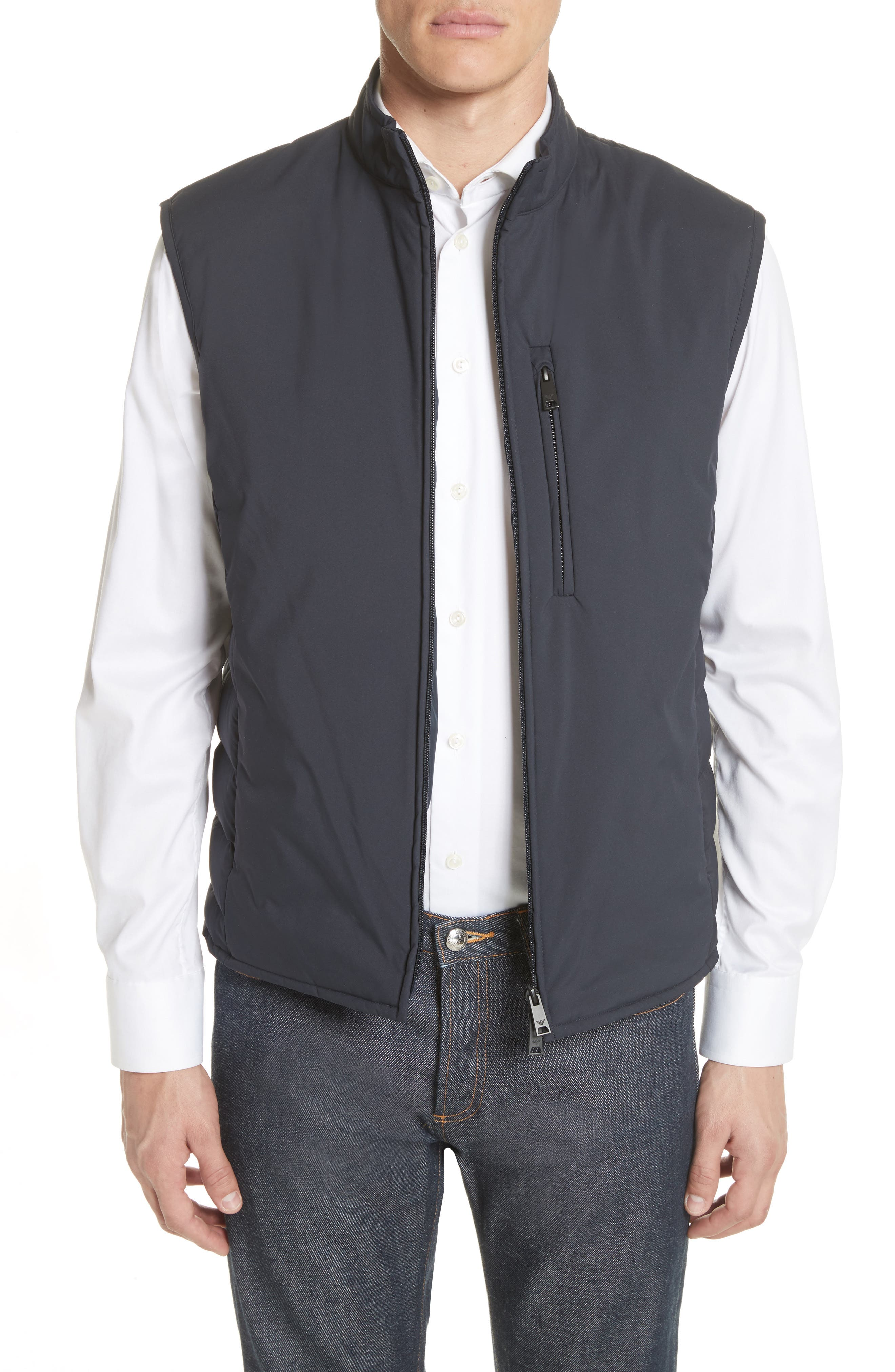 Quilted Microfiber Vest,                         Main,                         color, Navy