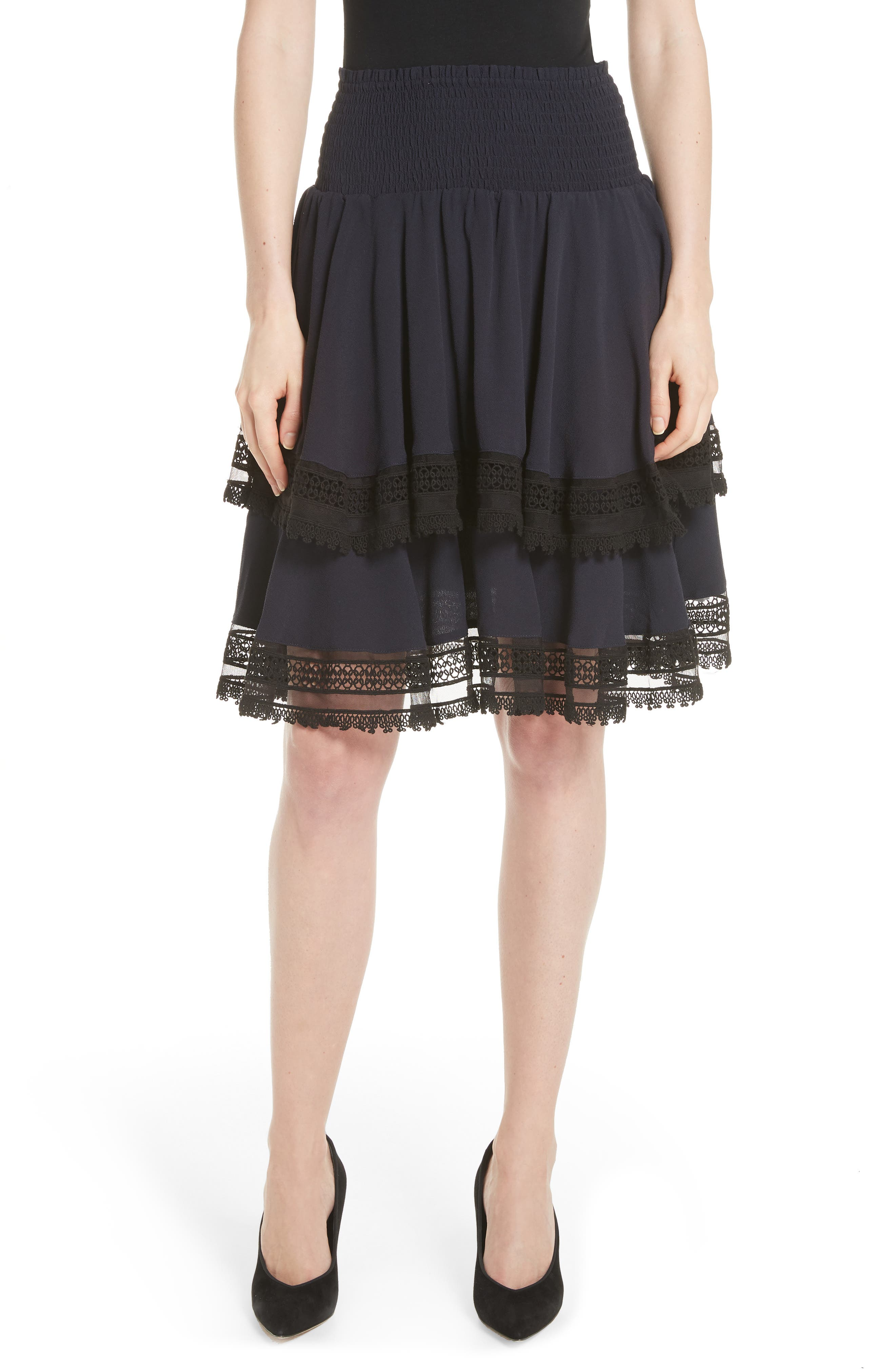 Jaglia Tiered Skirt,                         Main,                         color, Navy