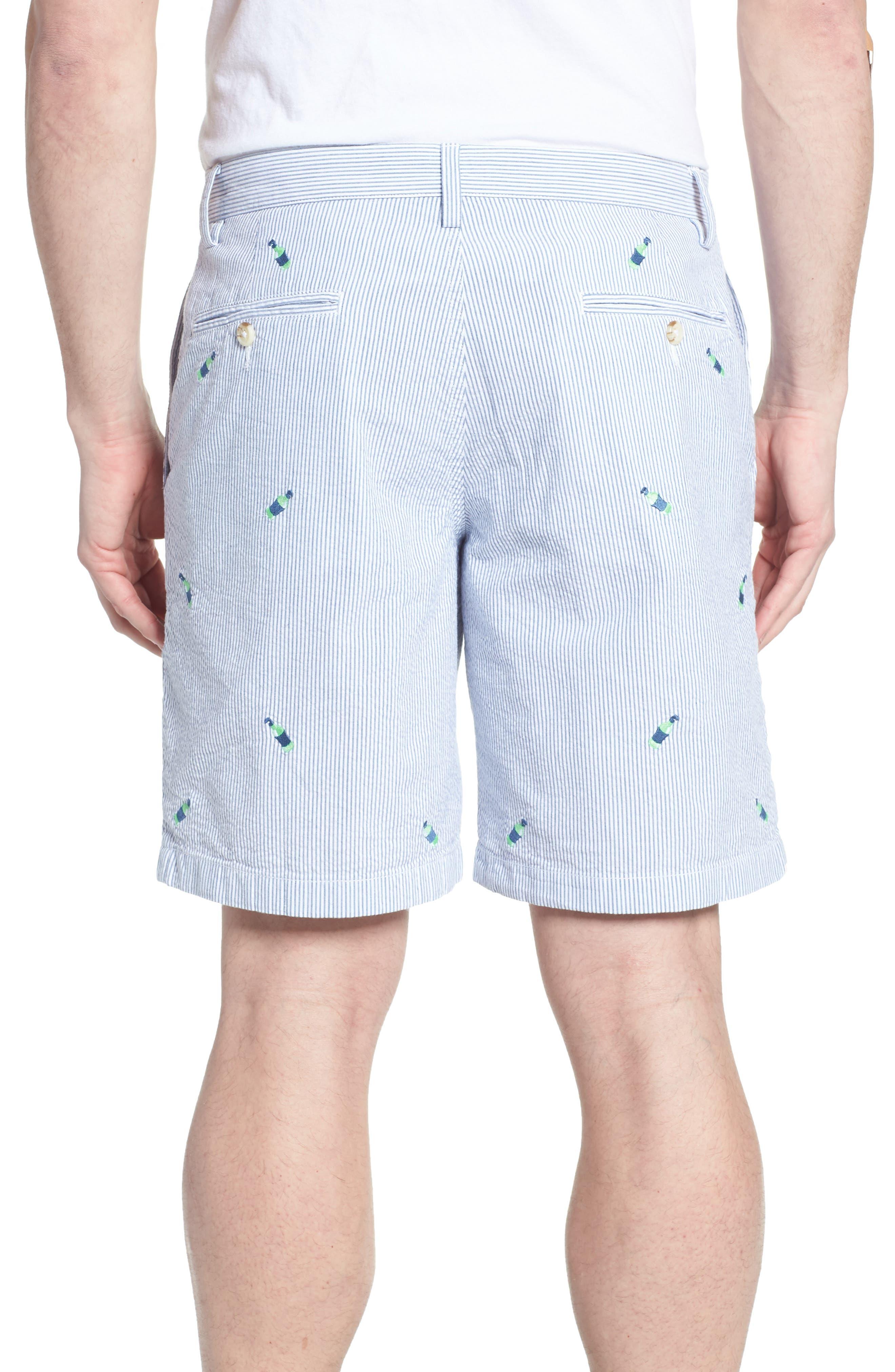 Embroidered Seersucker Shorts,                             Alternate thumbnail 2, color,                             Seven Seas Blue