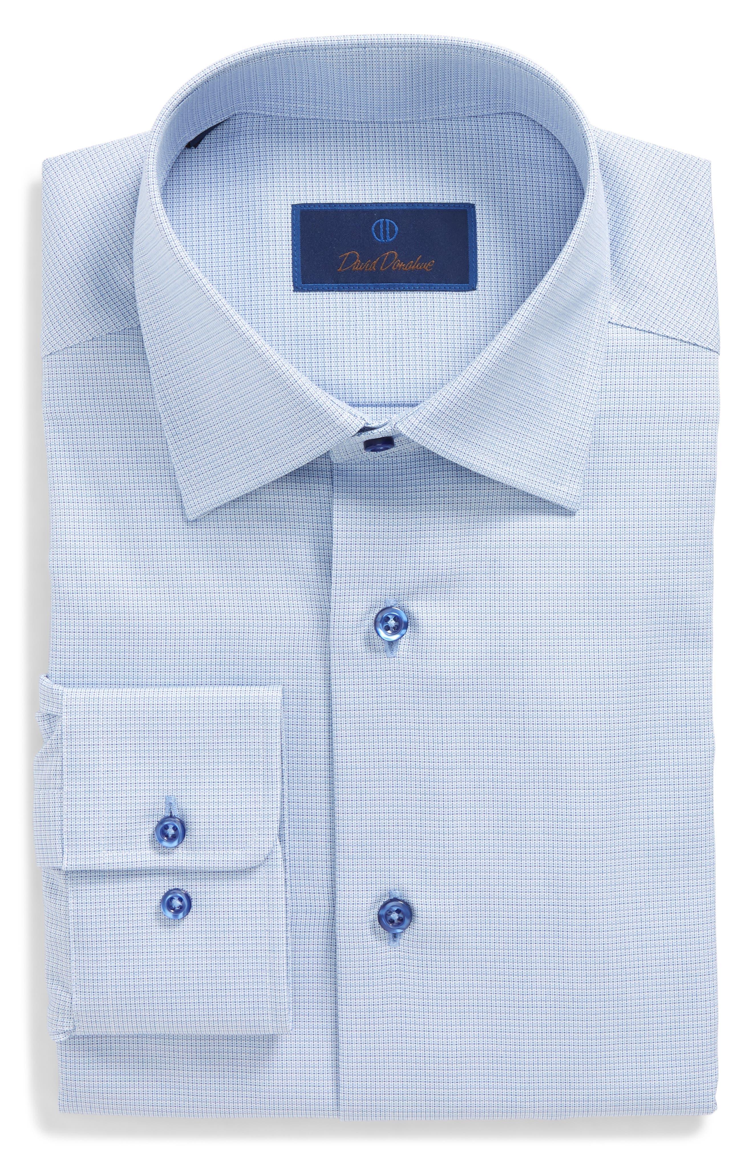 Regular Fit Solid Dress Shirt,                             Alternate thumbnail 6, color,                             Blue