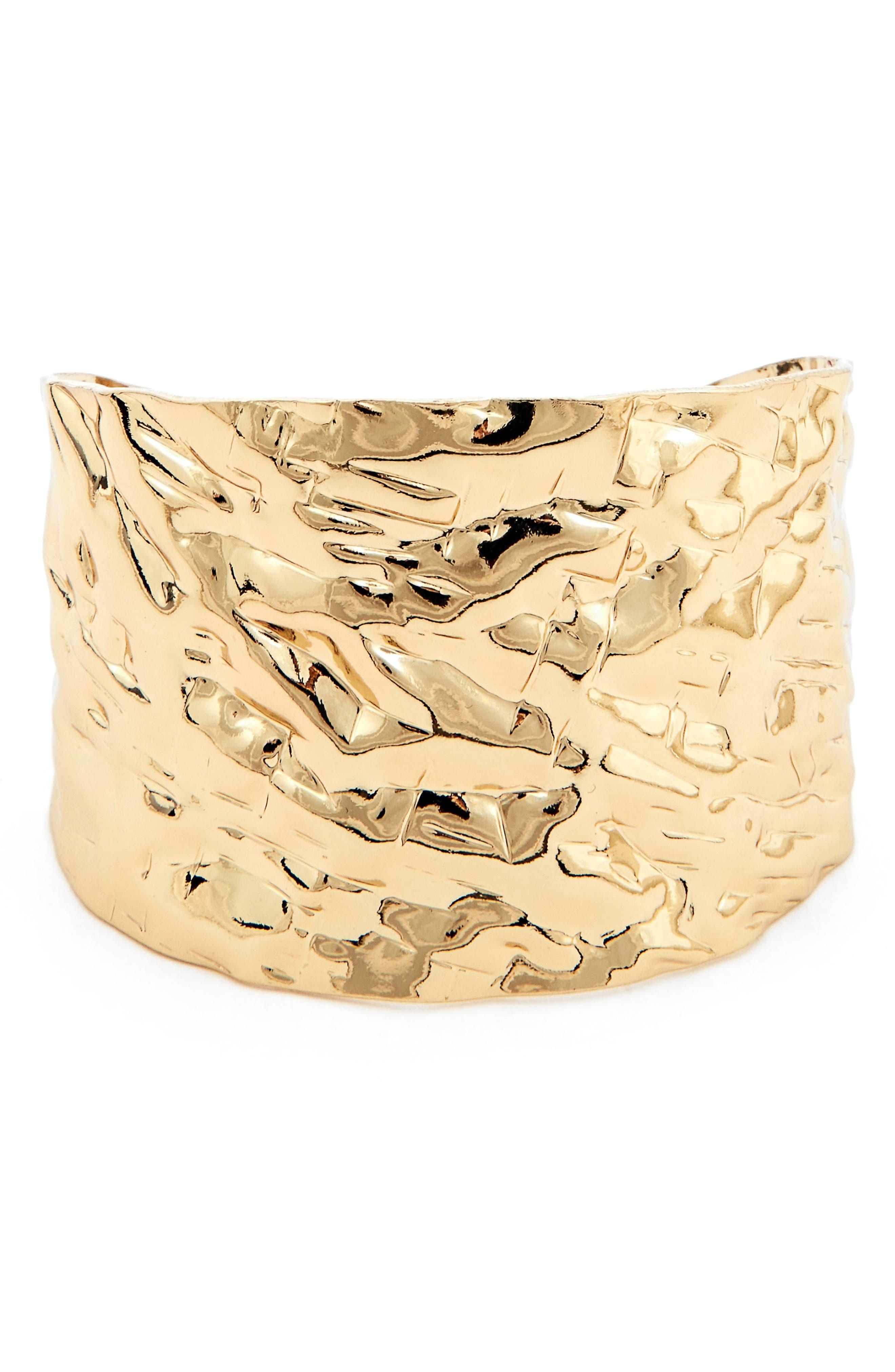 Textured Metal Cuff Bracelet,                             Main thumbnail 1, color,                             Gold