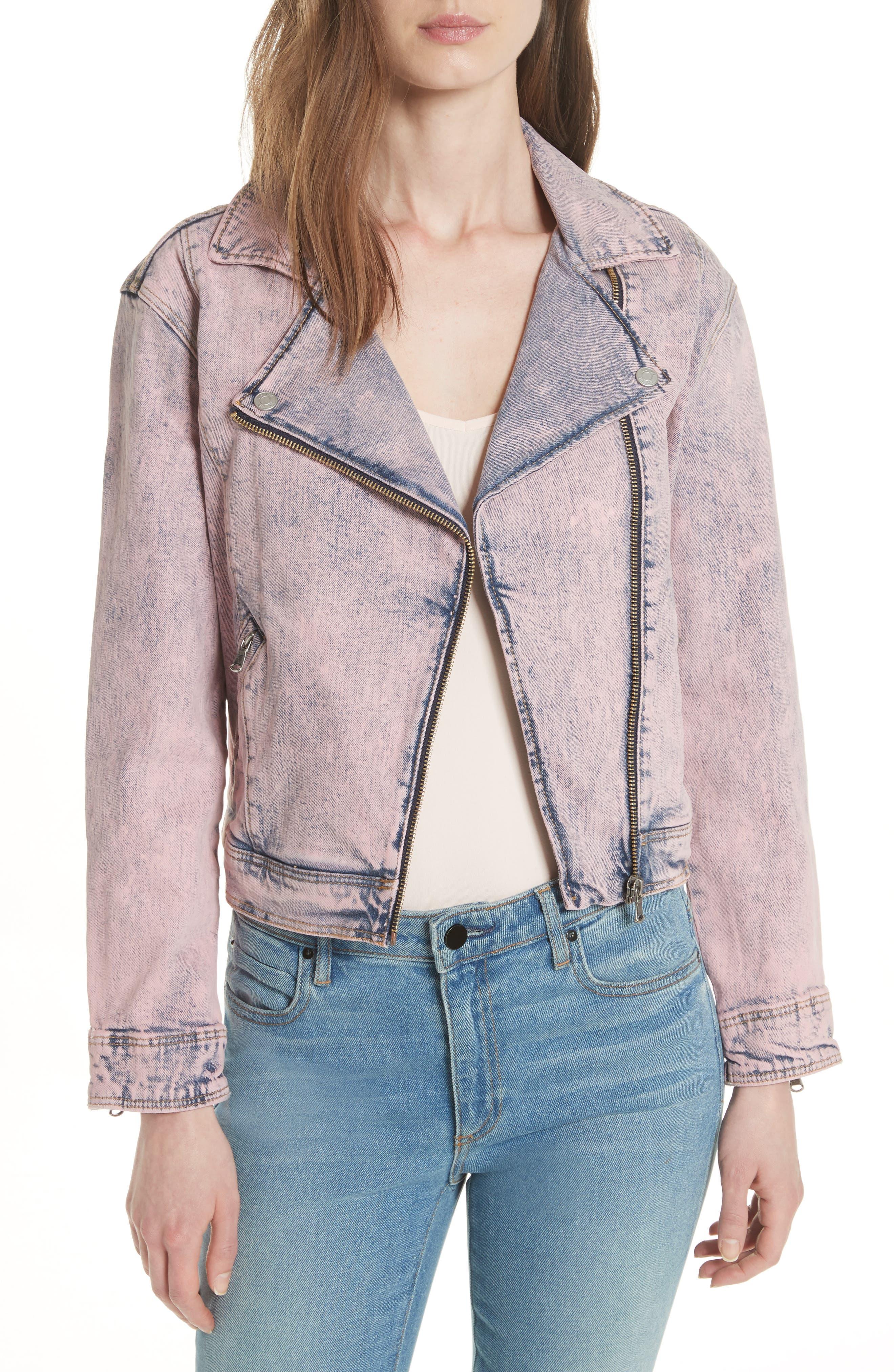 Denim Moto Jacket,                             Main thumbnail 1, color,                             Pink Overdyed Acid Wash