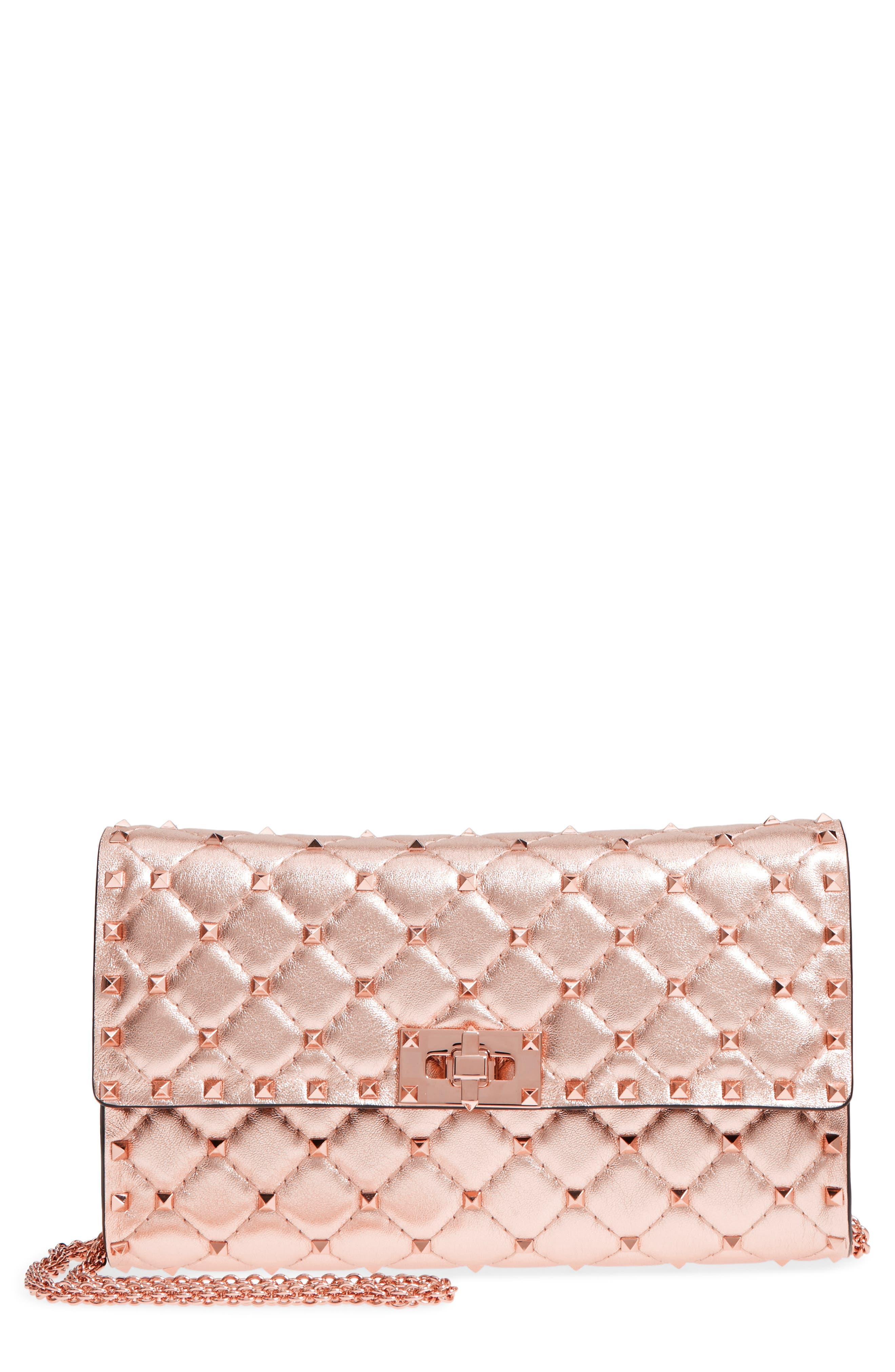 Rockstud Metallic Leather Shoulder Bag,                         Main,                         color, Rosegold