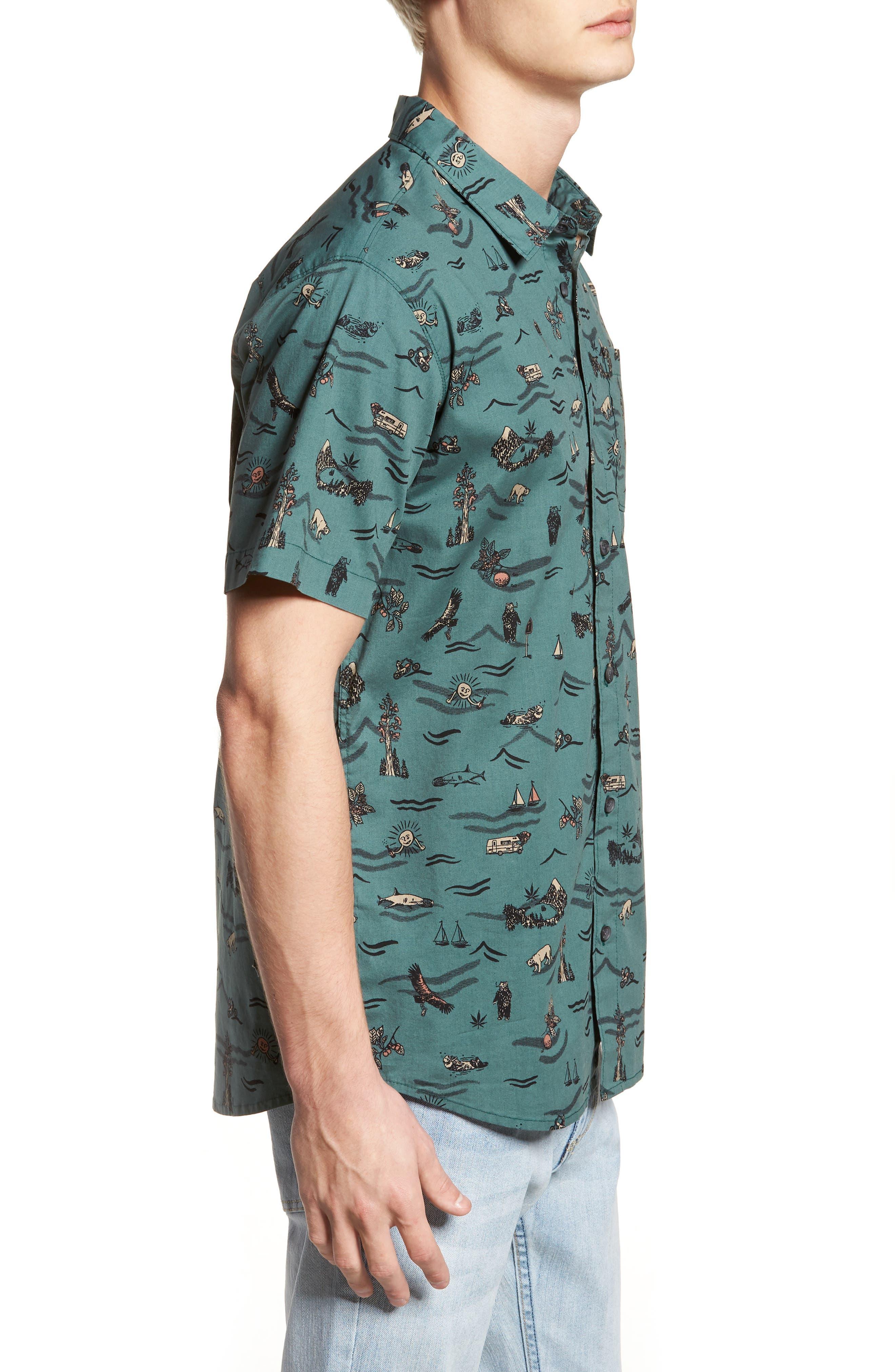 Squawk Short Sleeve Shirt,                             Alternate thumbnail 3, color,                             Pine