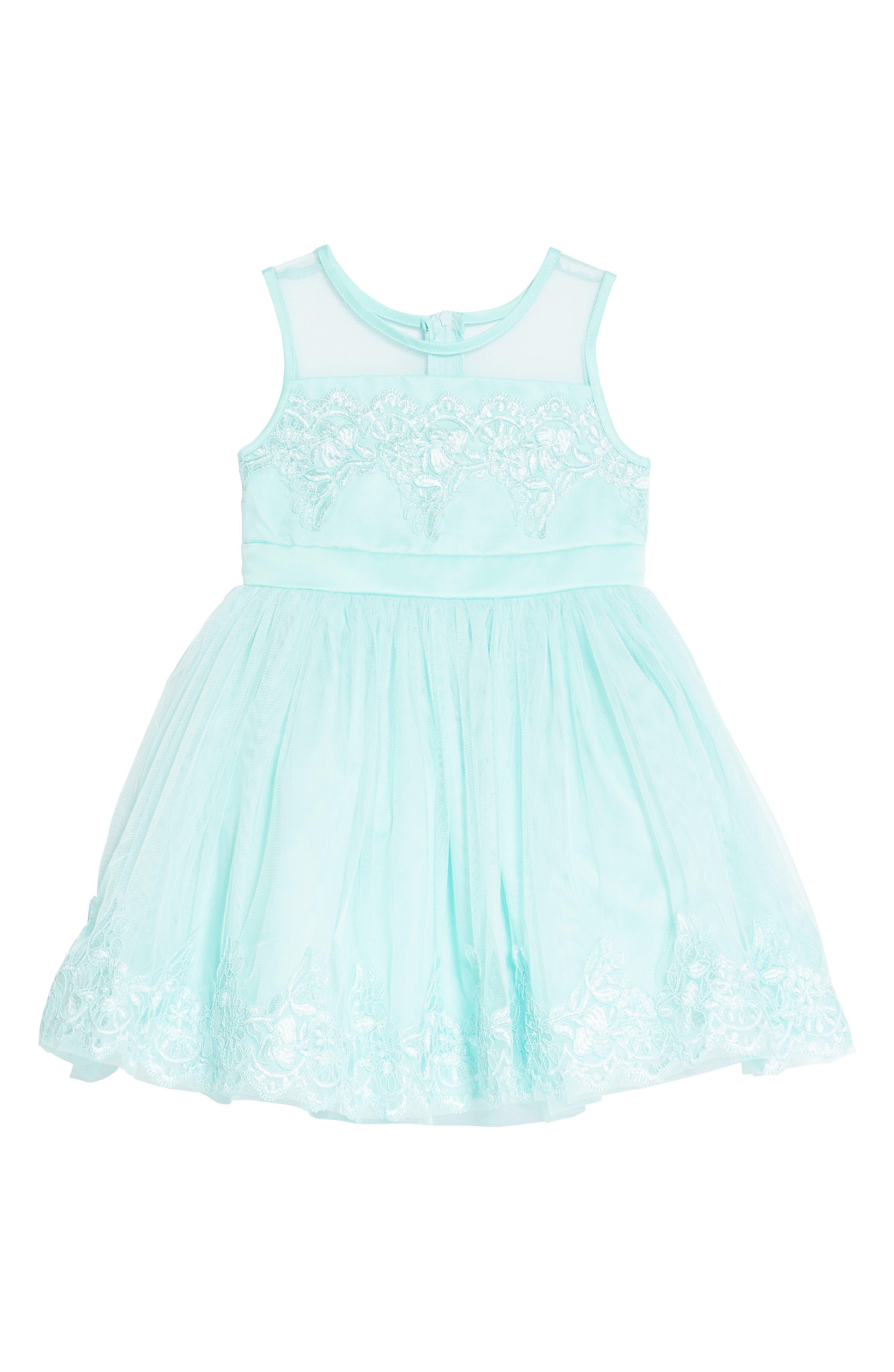 Tulle & Lace Party Dress,                             Main thumbnail 1, color,                             Aqua