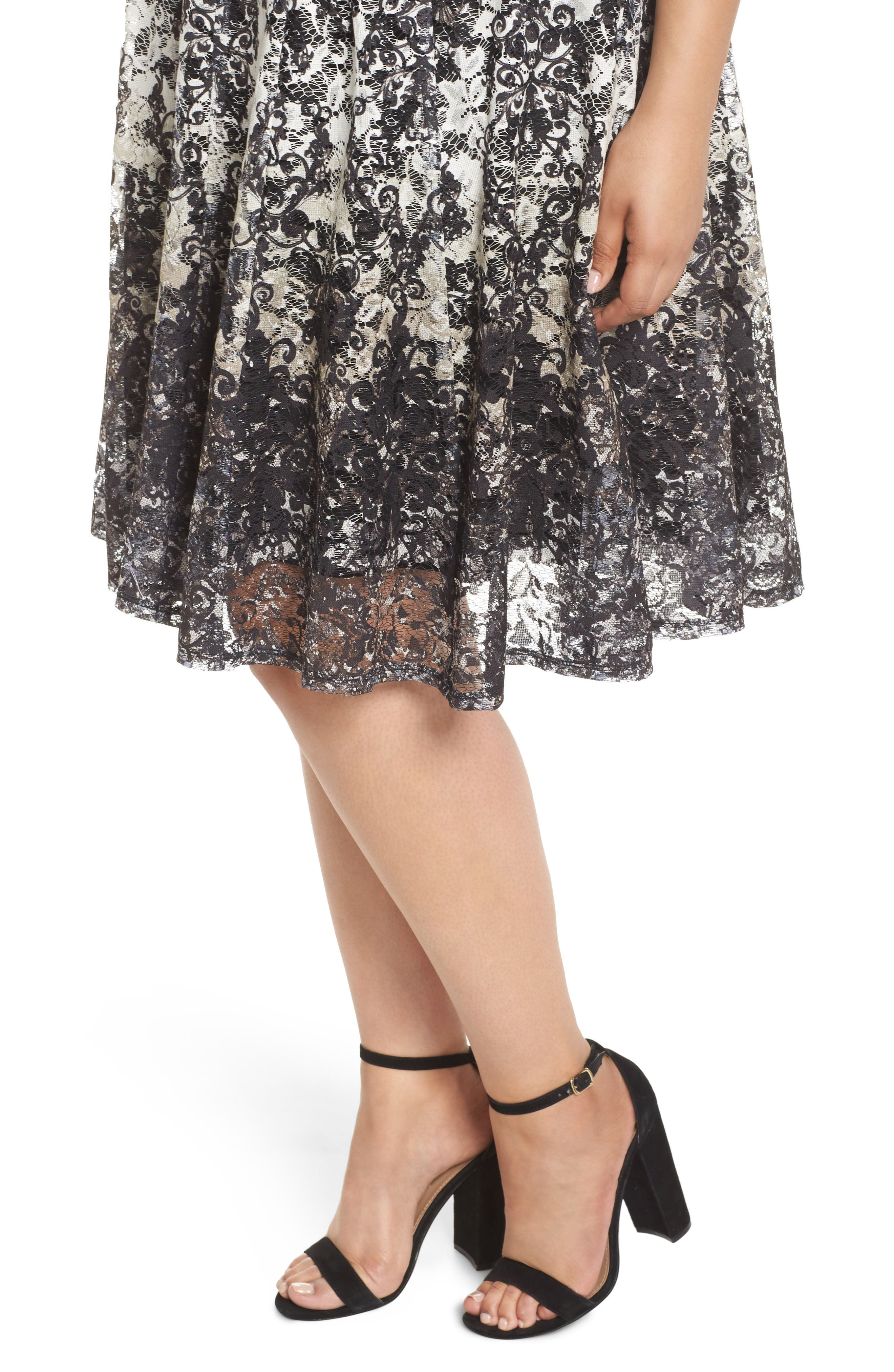 Printed Lace Fit & Flare Dress,                             Alternate thumbnail 4, color,                             Ivory/ Black