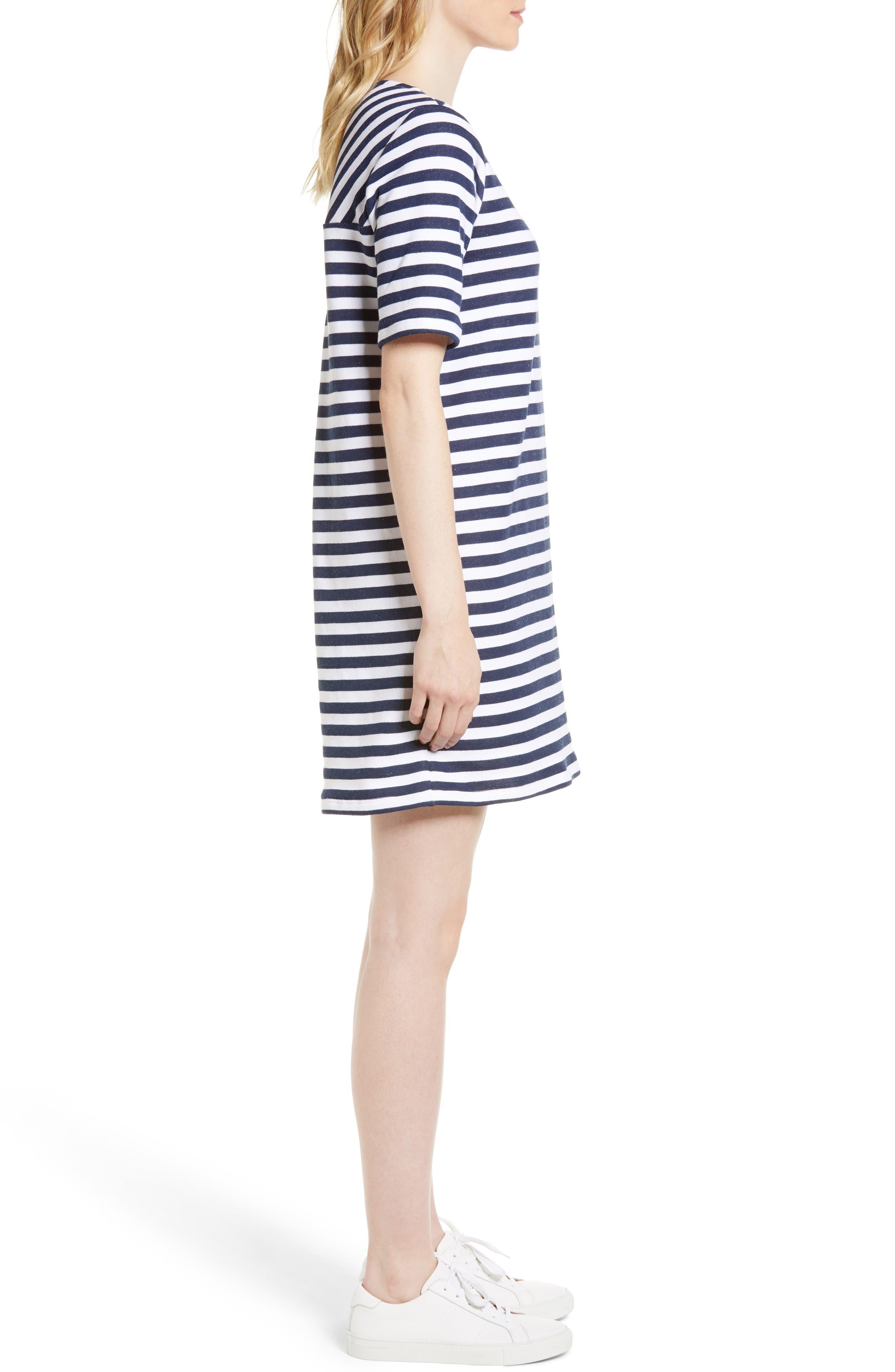 Pleat Back Minidress,                             Alternate thumbnail 3, color,                             Navy/ Ivory Stripe