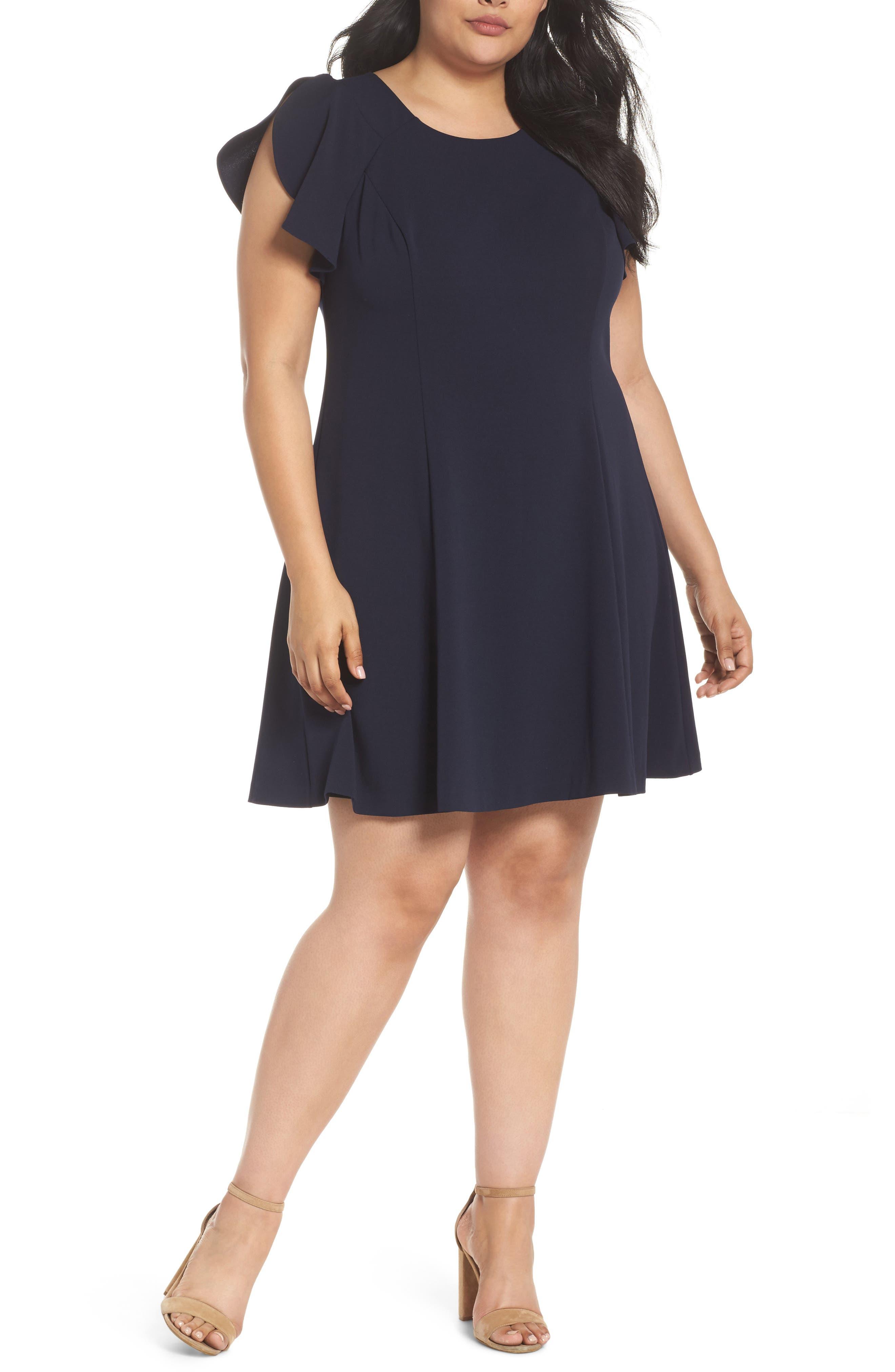 Ruffle Sleeve Scuba Crepe A-Line Dress,                             Main thumbnail 1, color,                             Navy