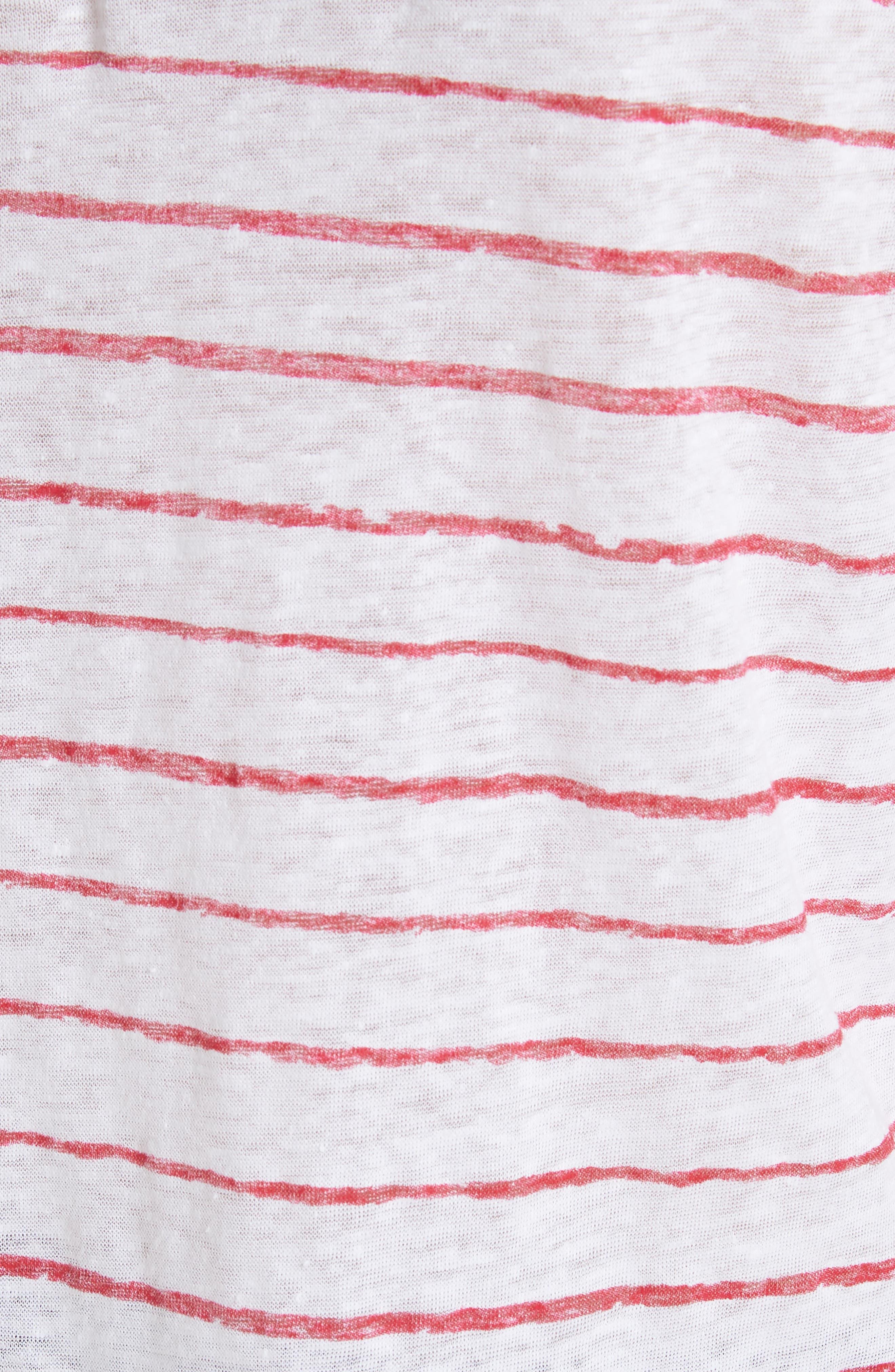 Stripe Three Quarter Sleeve Tee,                             Alternate thumbnail 5, color,                             Rouge/ Indigo Blue