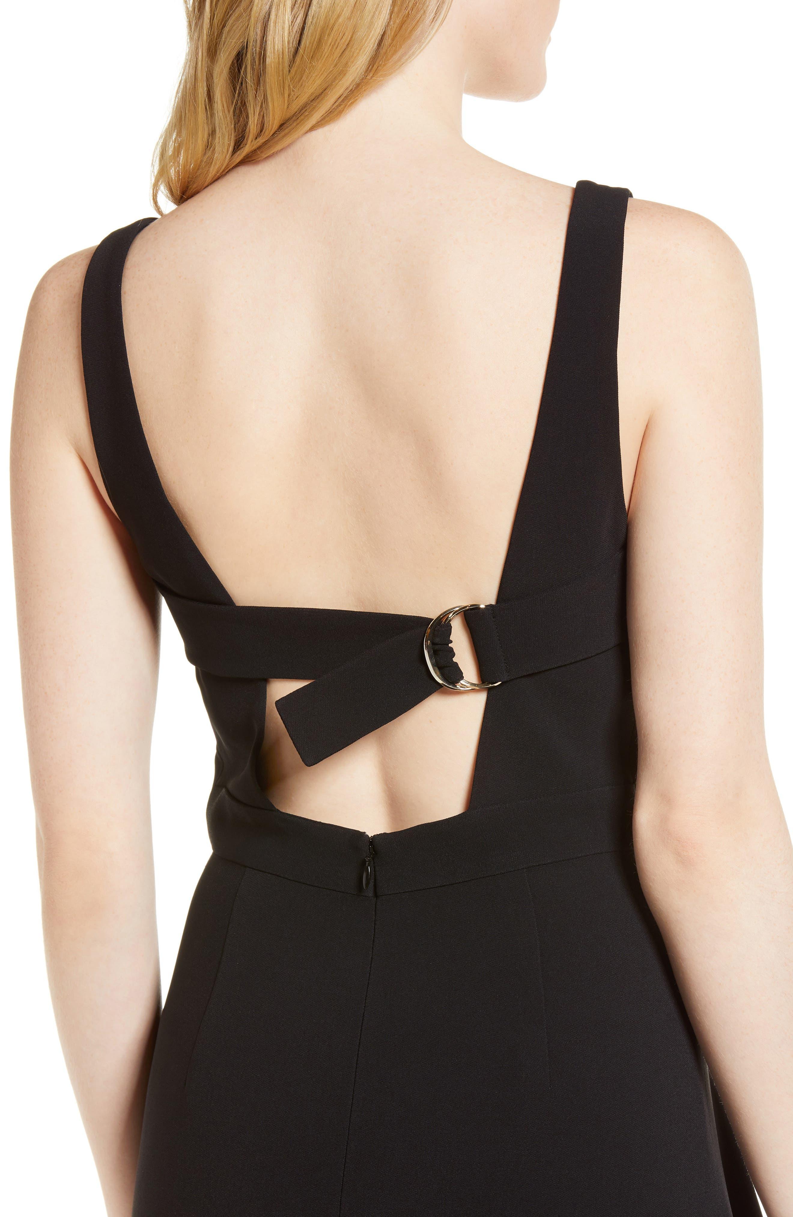 Side Drape Jumper Dress,                             Alternate thumbnail 4, color,                             Black