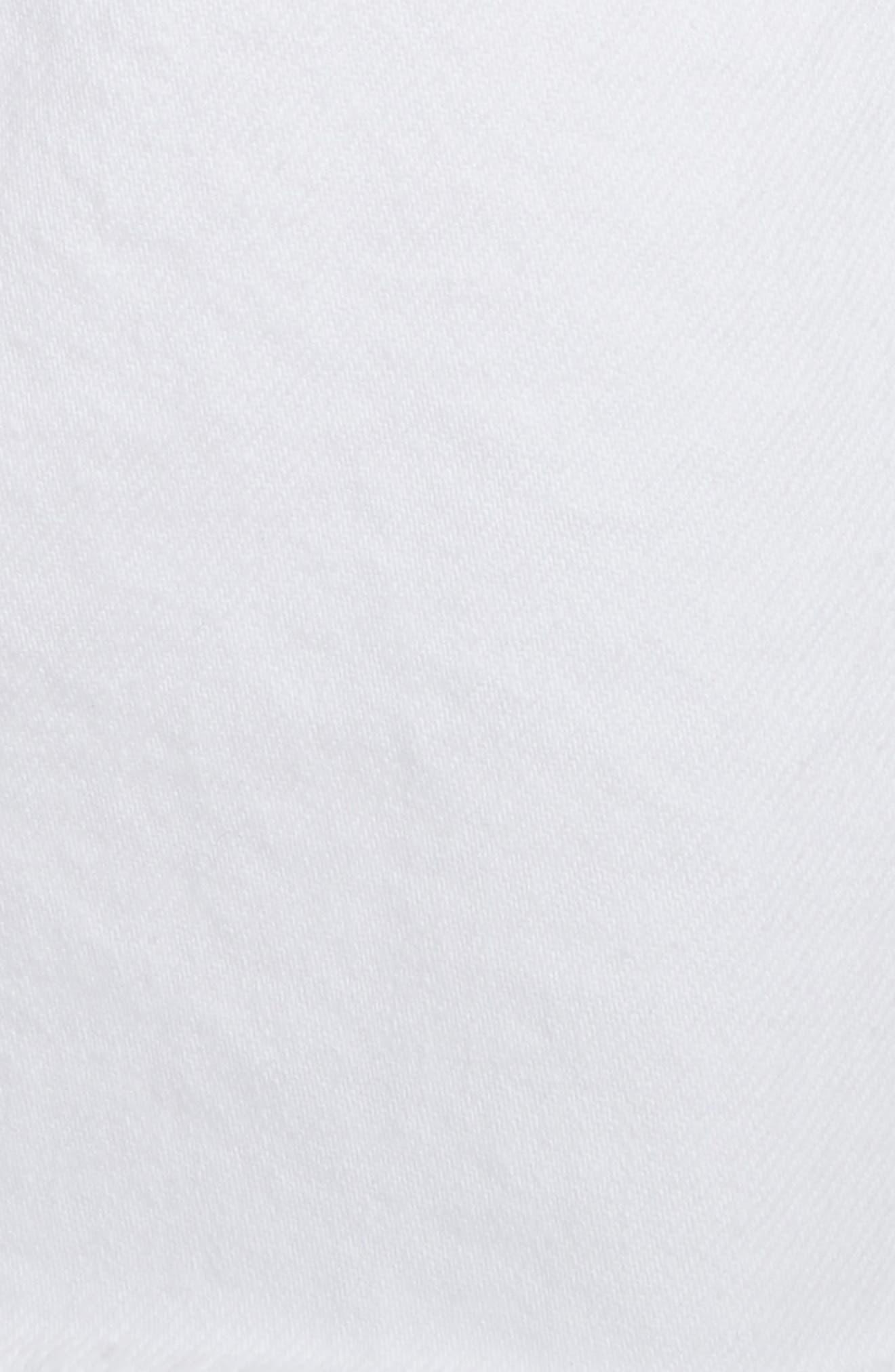 Le High Fray Hem Belted Denim Skirt,                             Alternate thumbnail 5, color,                             Blanc