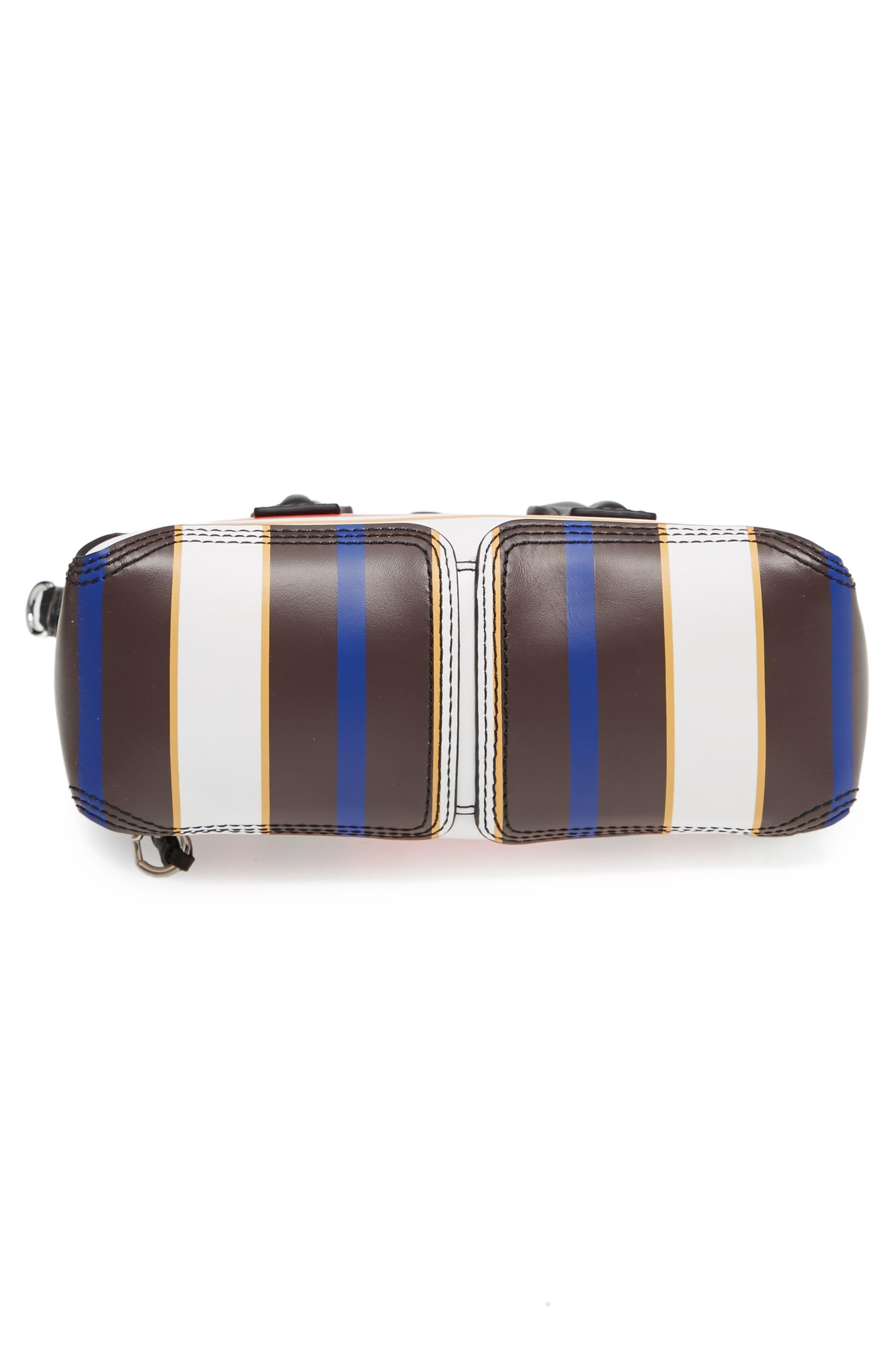 Mini Pashli Stripe Leather Satchel,                             Alternate thumbnail 6, color,                             Red Multi