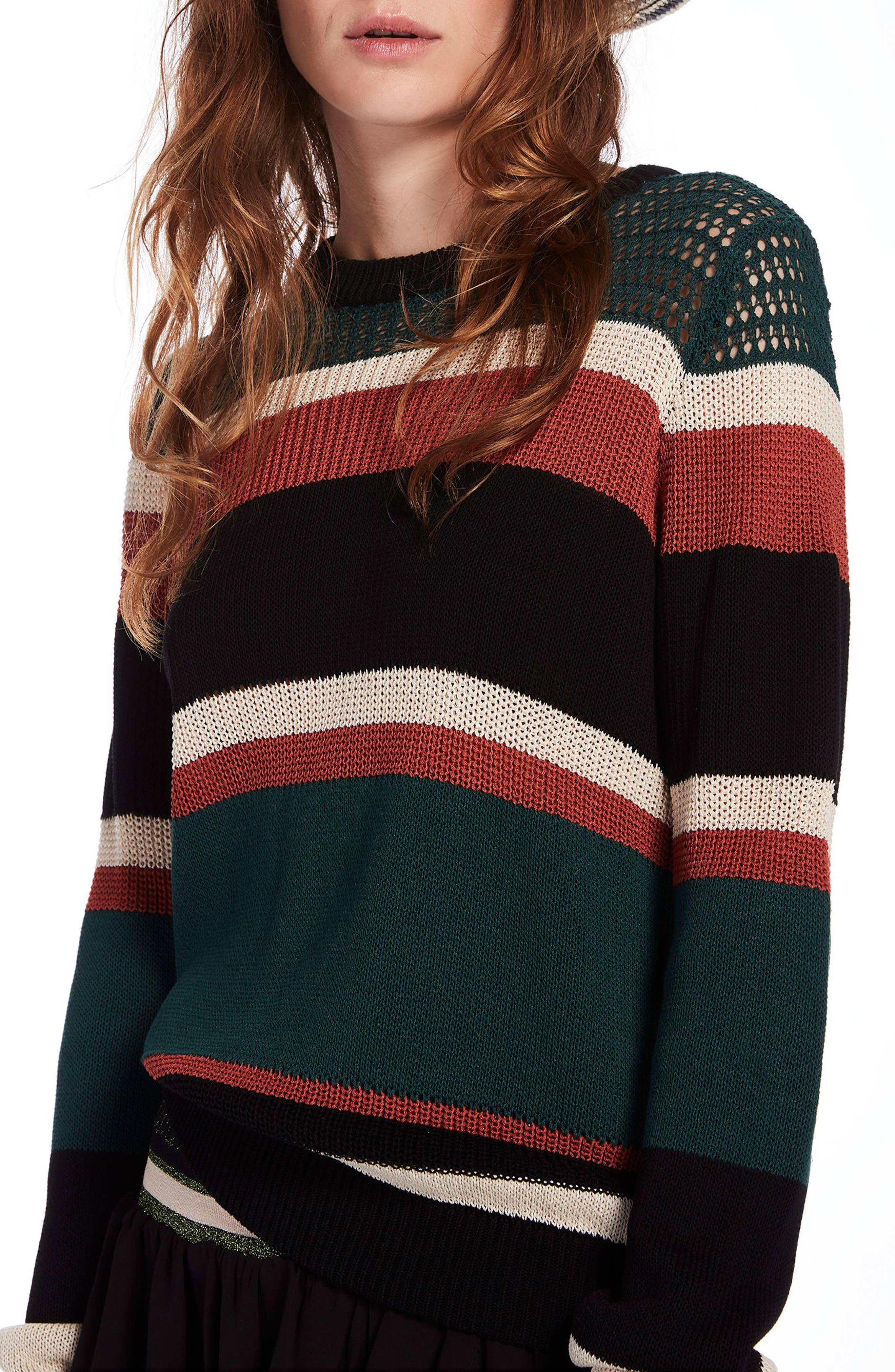 Stripe Crewneck Sweater,                         Main,                         color, Combo A