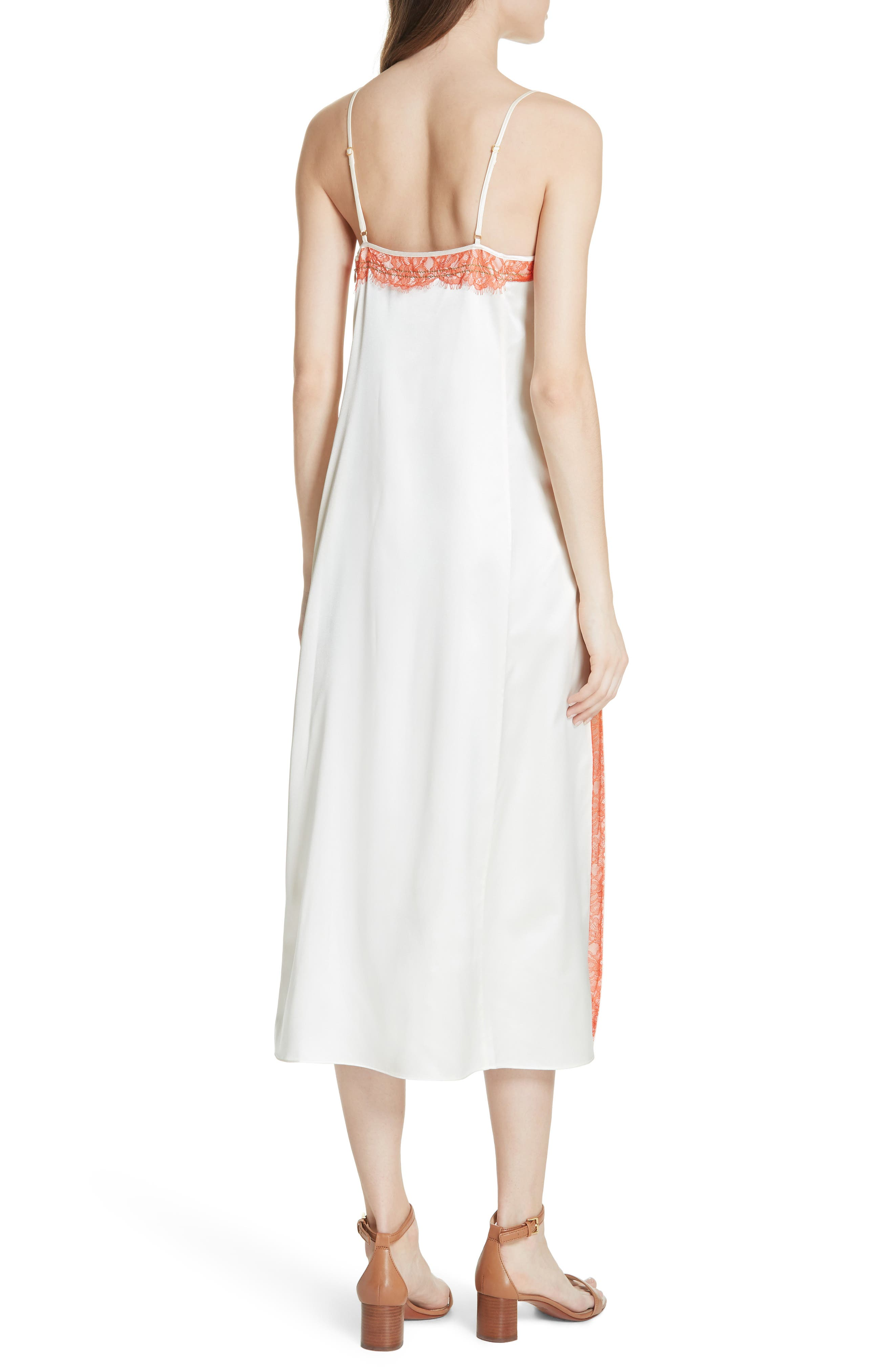 Claire Silk Midi Dress,                             Alternate thumbnail 3, color,                             New Ivory