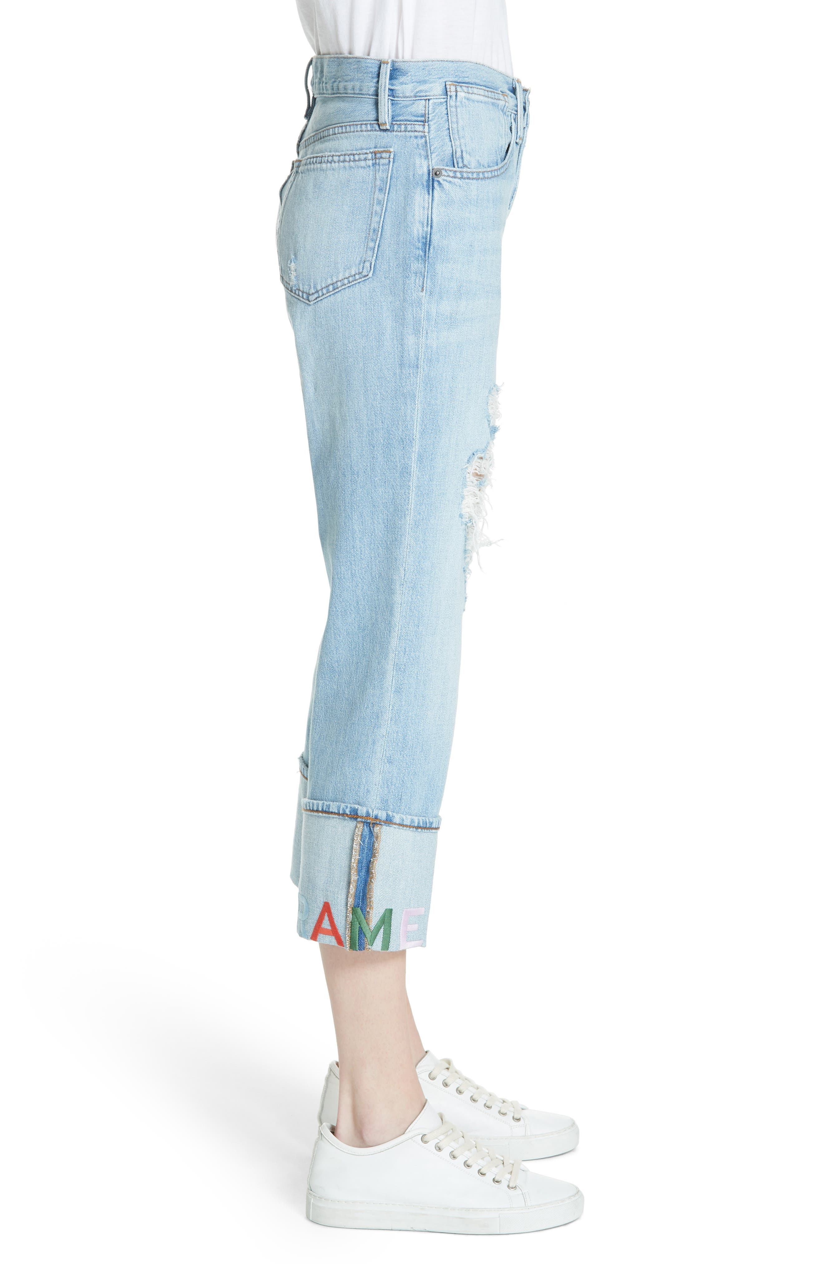 Distressed & Embroidered Straight Leg Jeans,                             Alternate thumbnail 3, color,                             Rydell