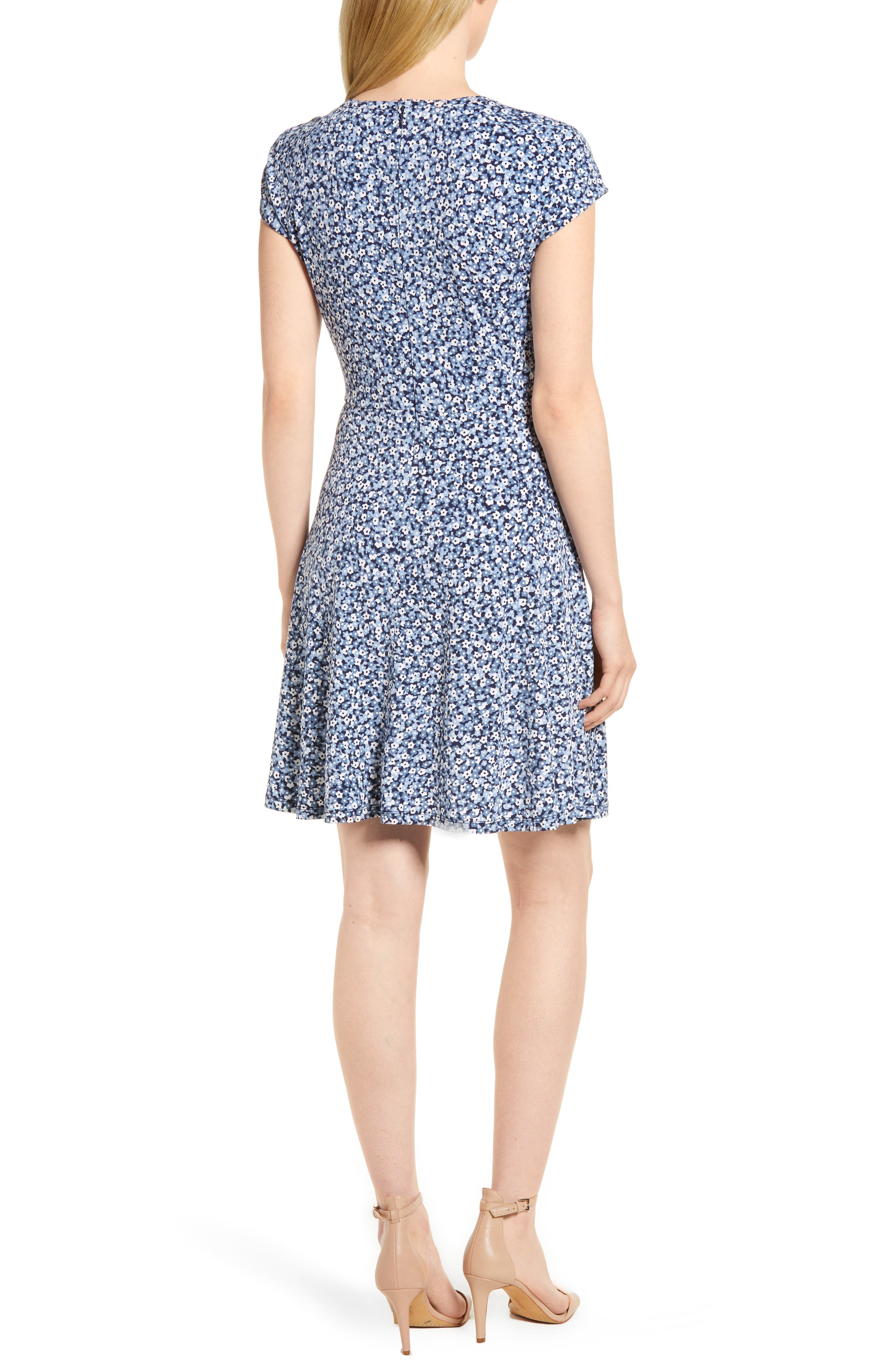 Collage Floral Double Keyhole Dress,                             Alternate thumbnail 2, color,                             True Navy/ Light Chambray