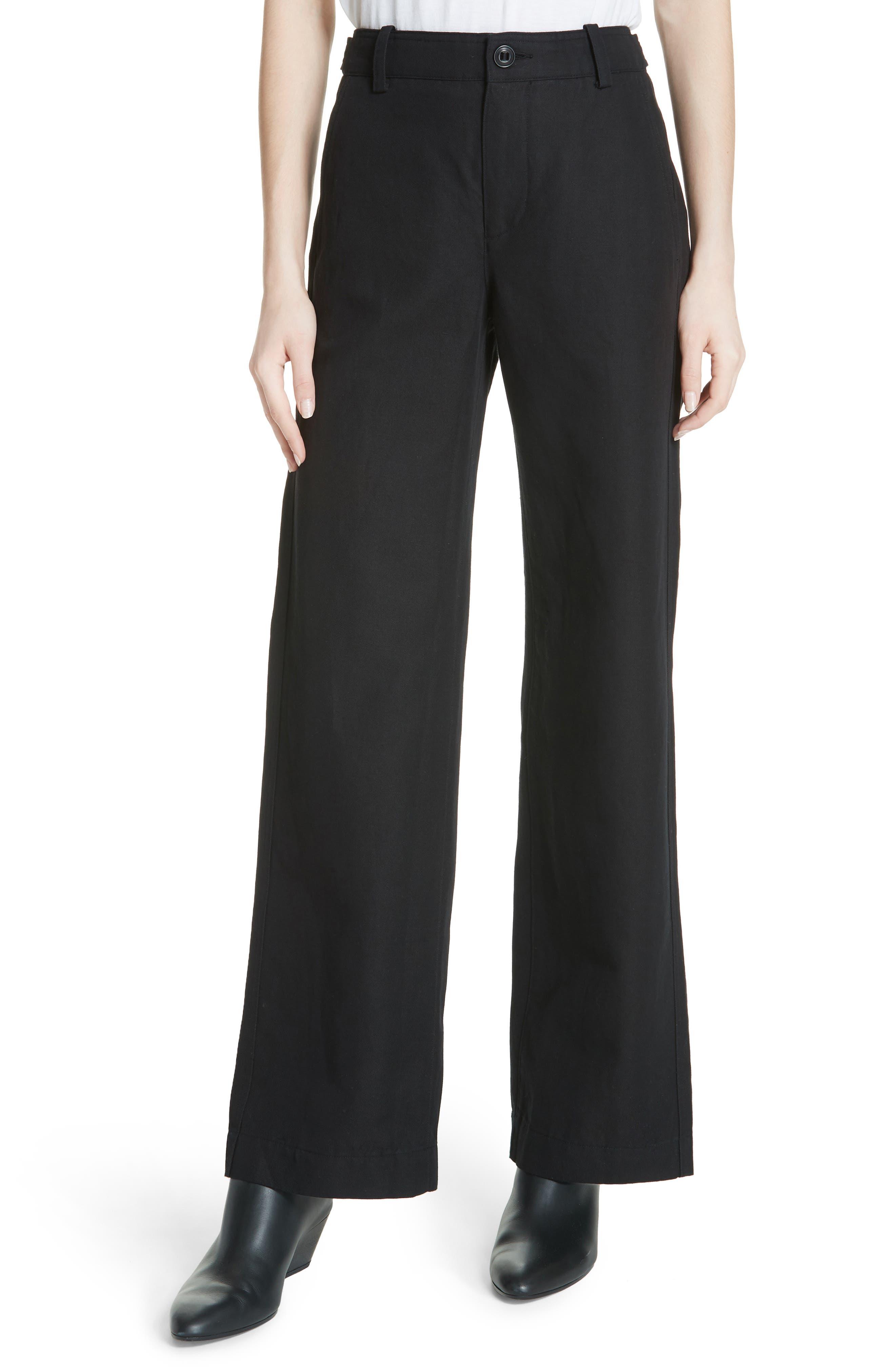 Alternate Image 1 Selected - Vince High Rise Linen Blend Wide Leg Pants