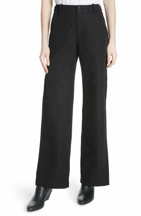 Vince High Rise Linen Blend Wide Leg Pants