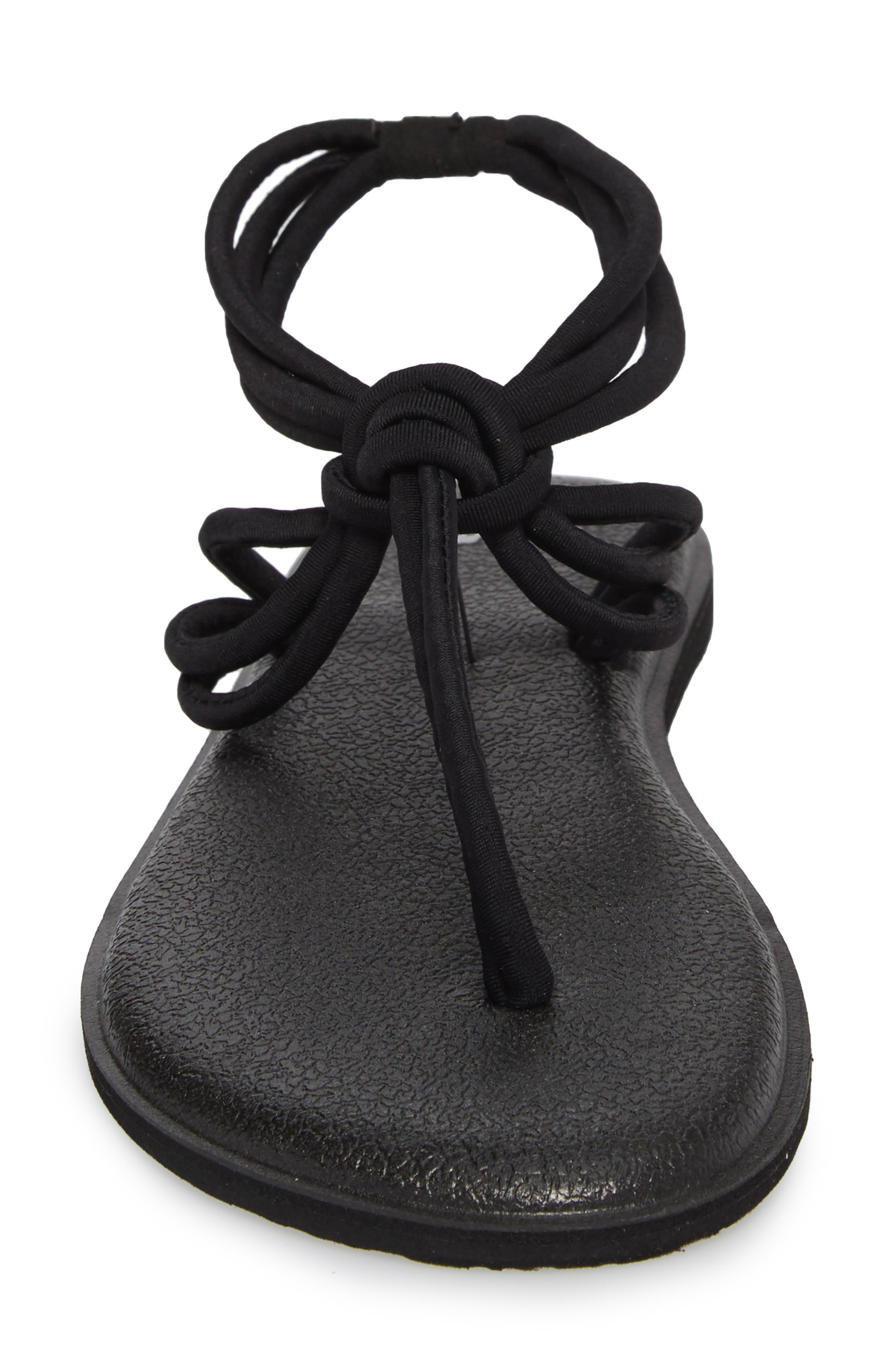 Yoga Sunshine Knotted Thong Sandal,                             Alternate thumbnail 4, color,                             Black