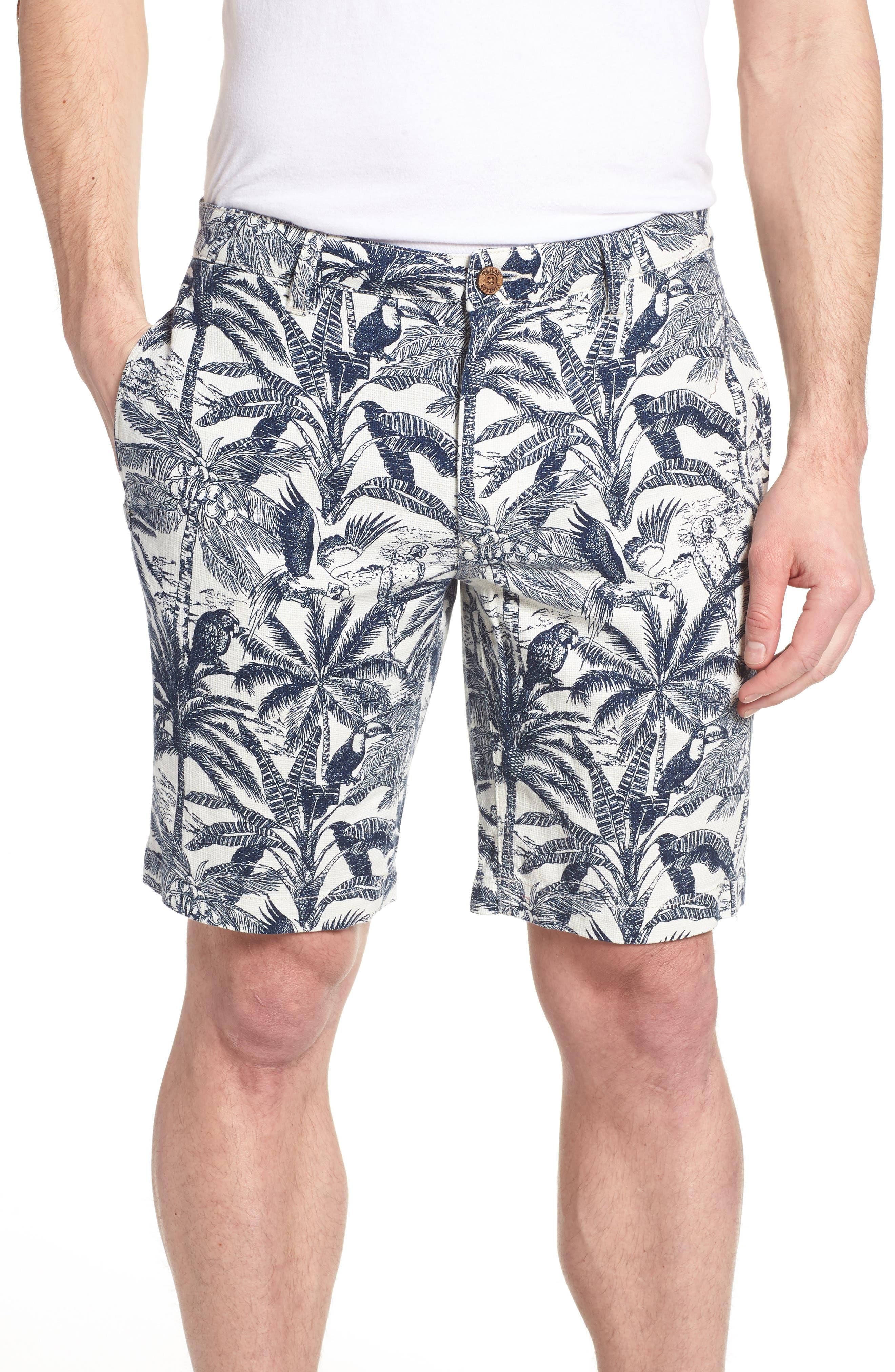 Cotton & Linen Shorts,                             Main thumbnail 1, color,                             White Palm Parrot Print