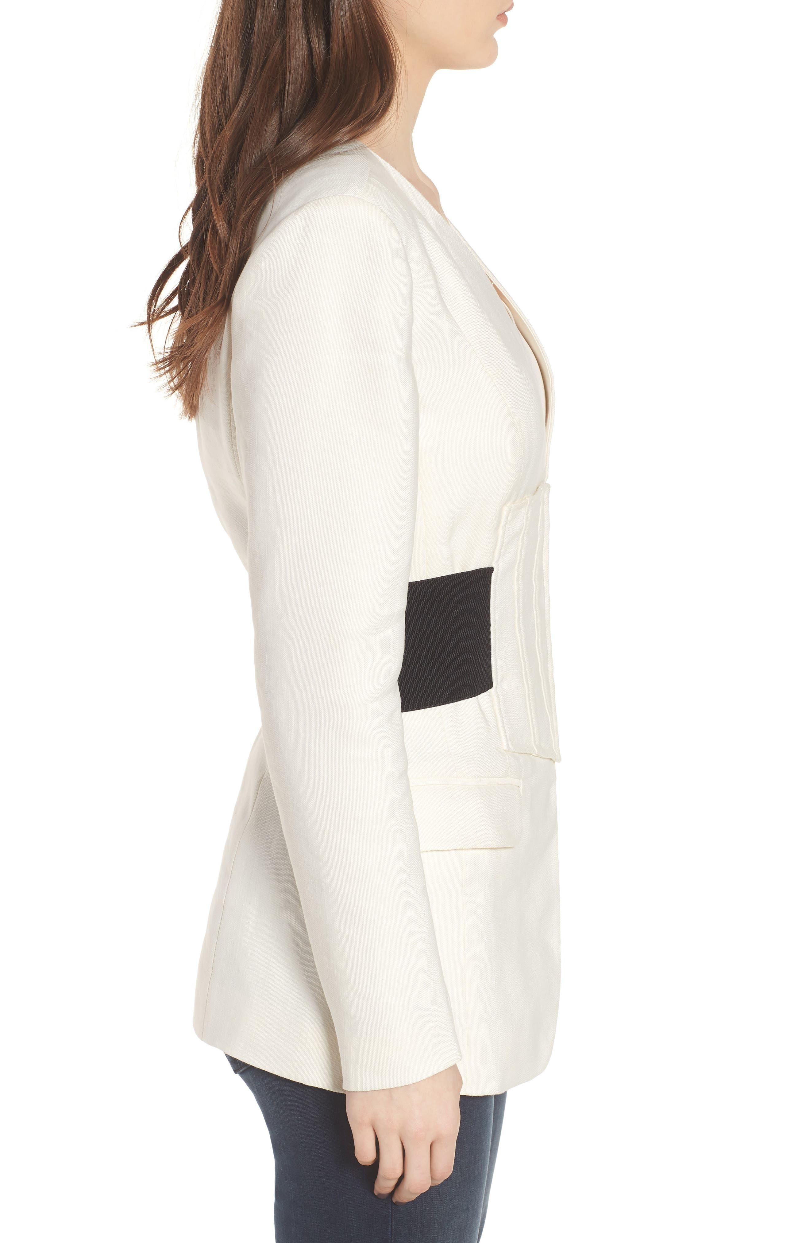 Corset Linen Blend Blazer,                             Alternate thumbnail 3, color,                             Ivory
