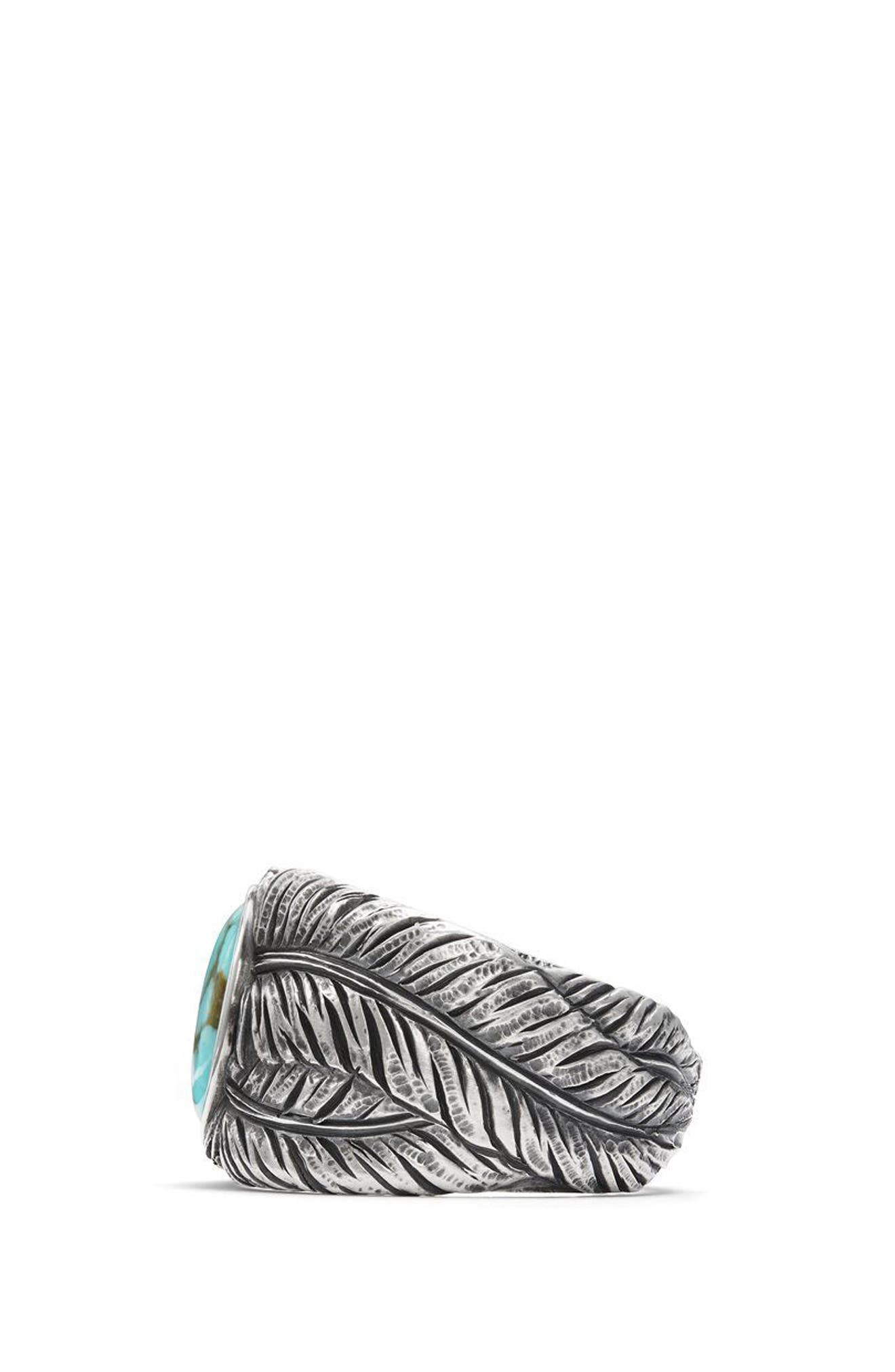 Southwest Cigar Band Feather Ring with Turquoise,                             Alternate thumbnail 2, color,                             Turquoise
