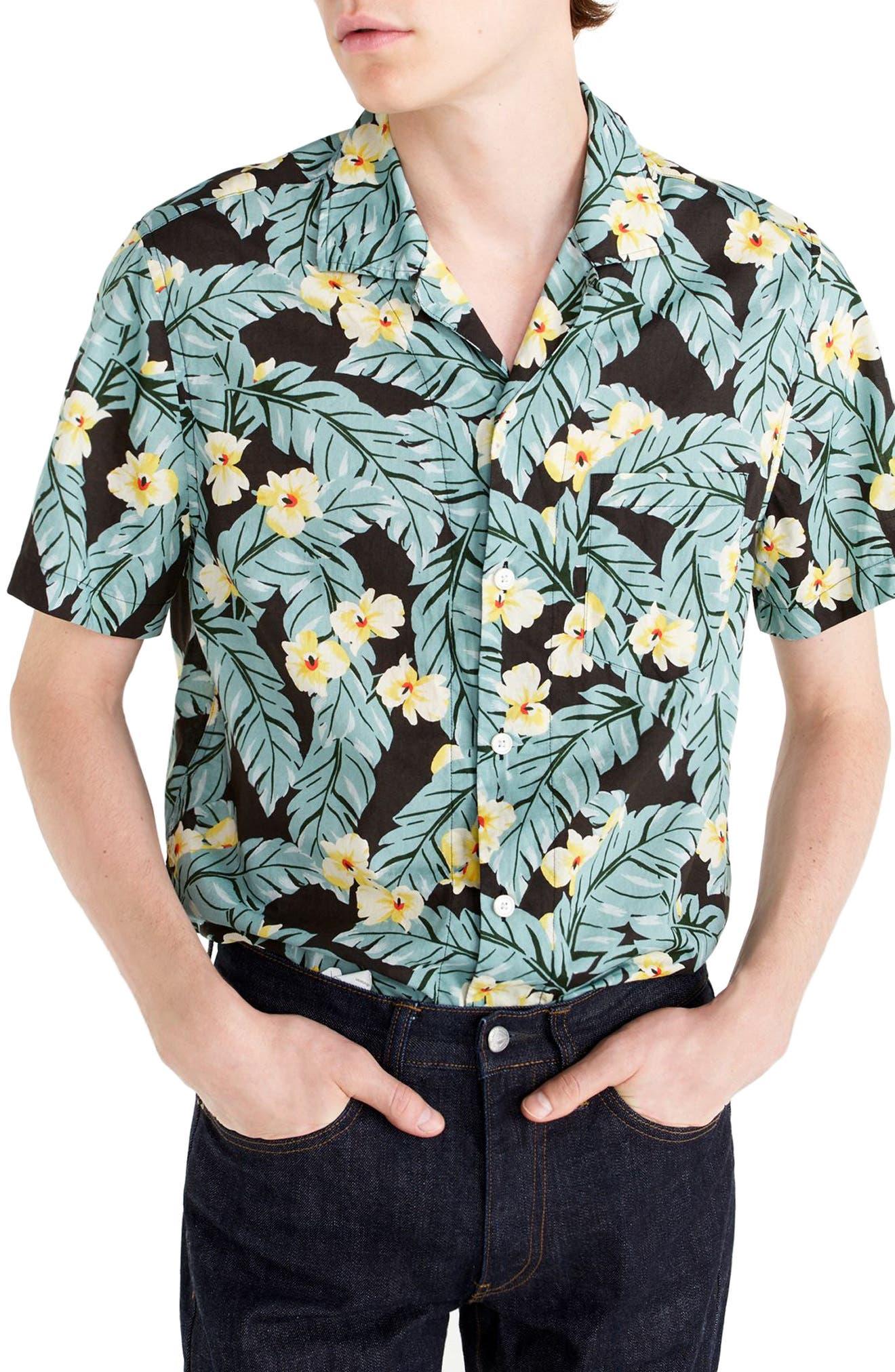 Short Sleeve Jungle Print Slub Cotton Shirt,                             Main thumbnail 1, color,                             Jungle Multi