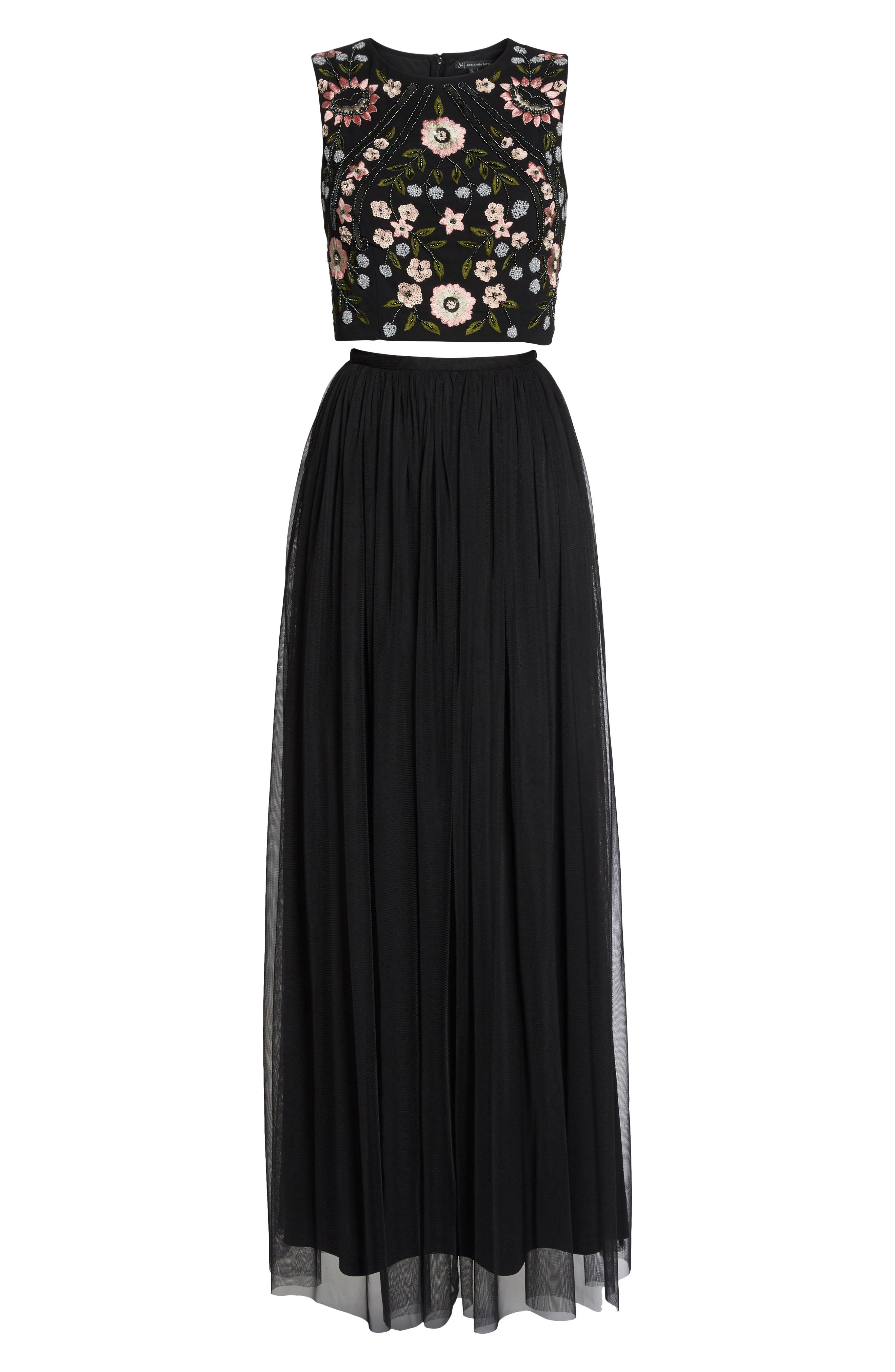 Beaded Two-Piece Gown,                             Alternate thumbnail 6, color,                             Black Multi