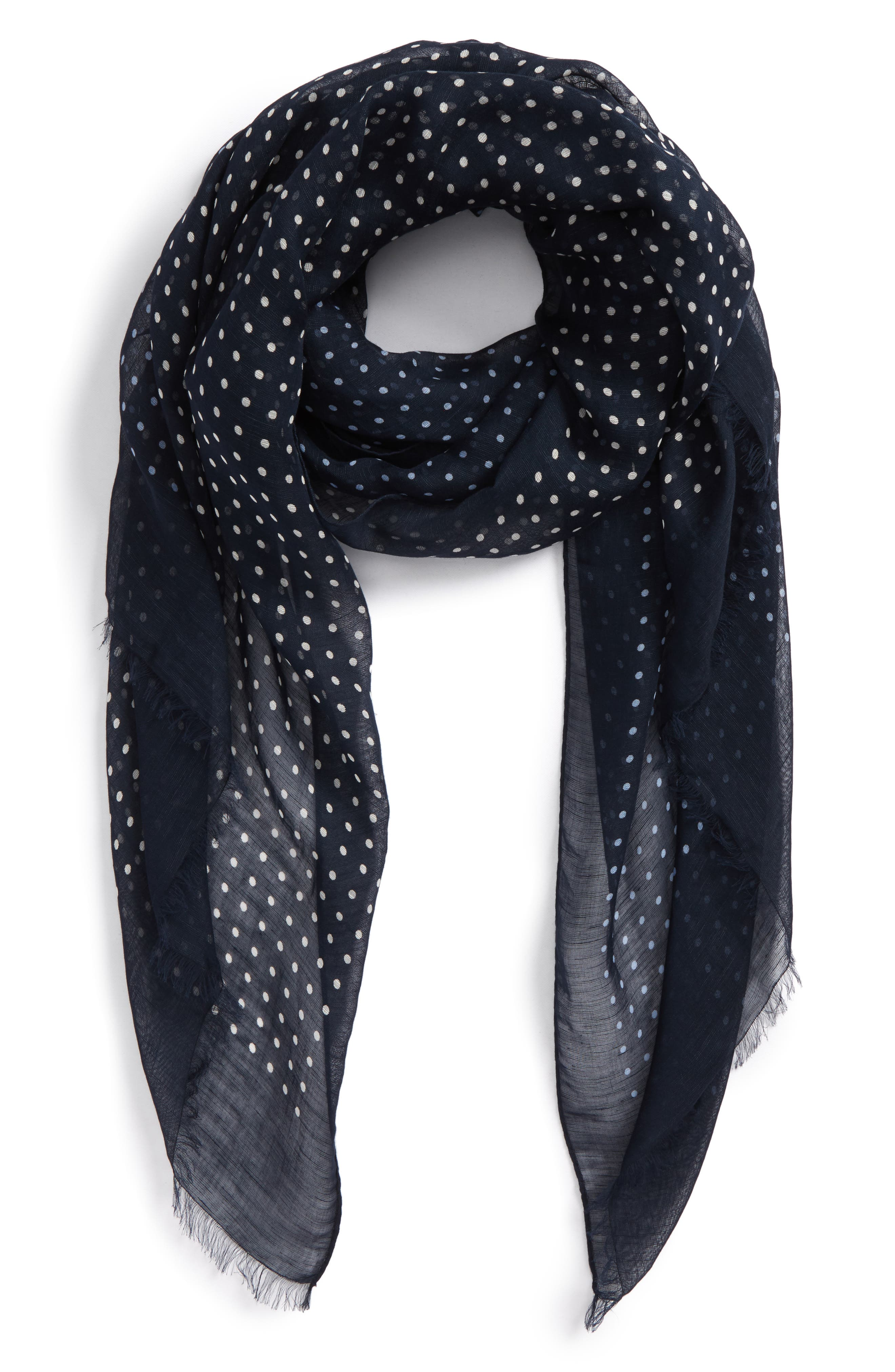 Polka Dot Linen Scarf,                         Main,                         color, Navy With White And Sky Dot
