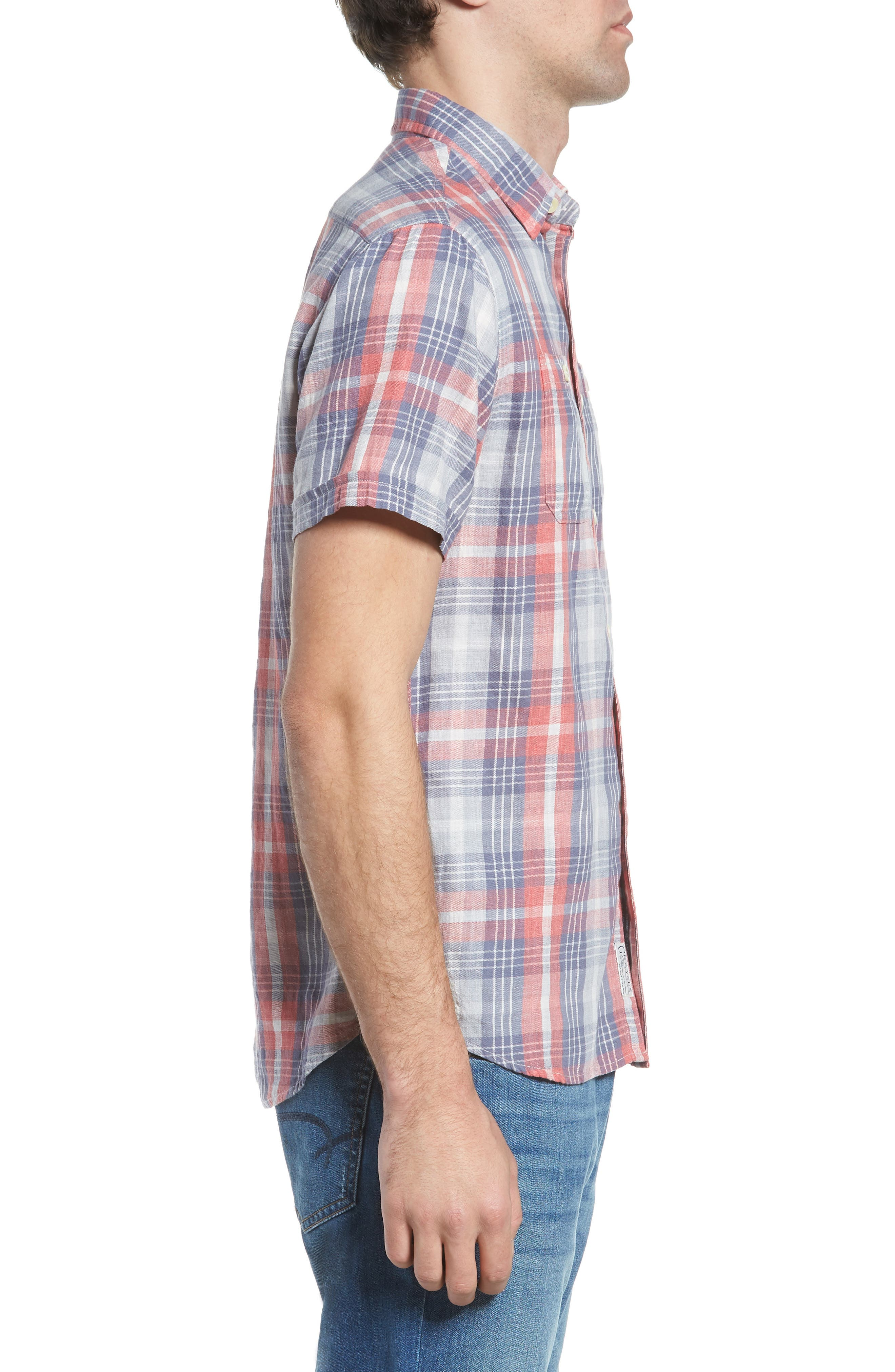 Reynolds Short Sleeve Sport Shirt,                             Alternate thumbnail 4, color,                             Red Gray Plaid