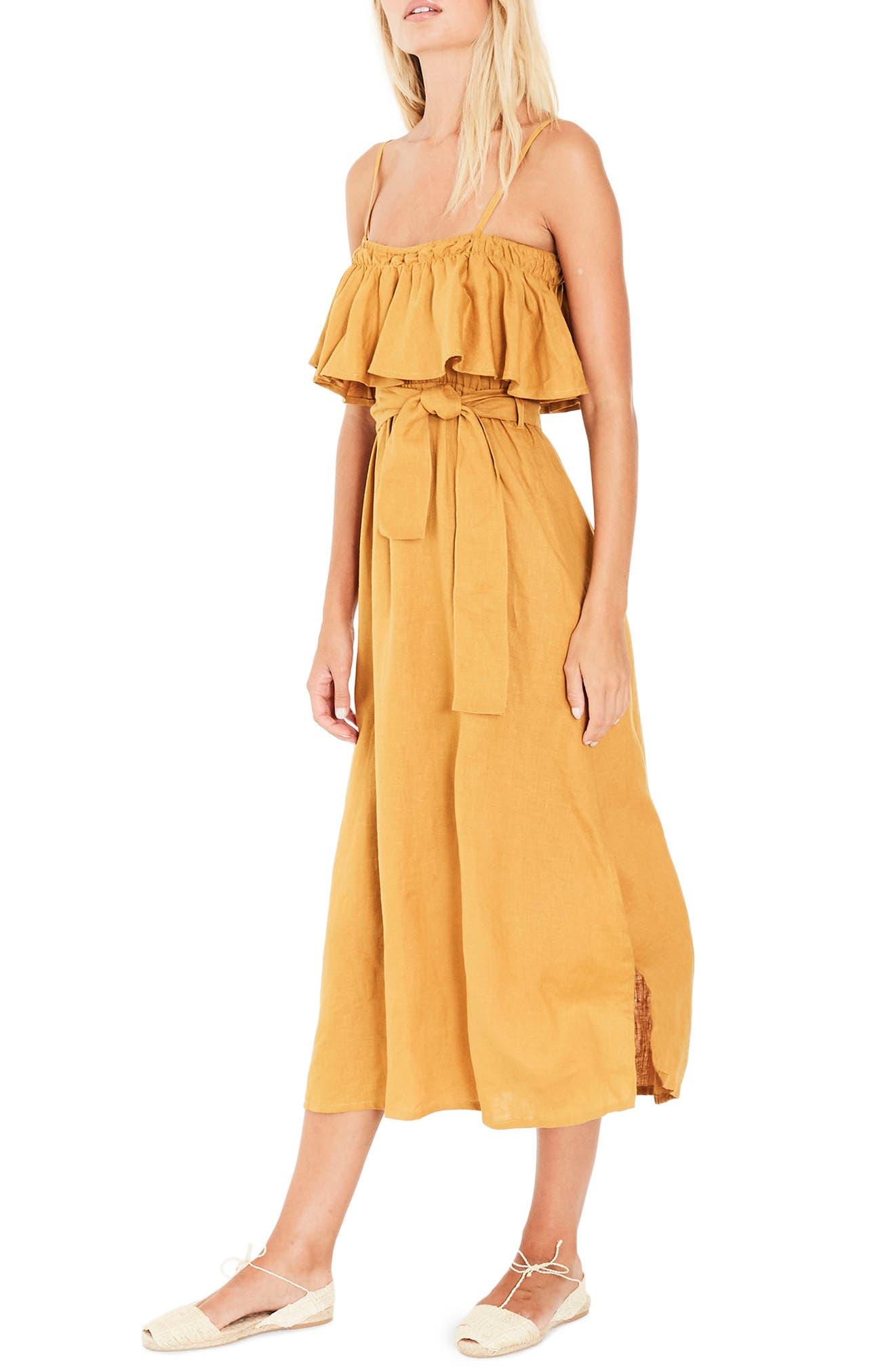 Santo Linen Midi Dress,                             Alternate thumbnail 4, color,                             Plain Marigold