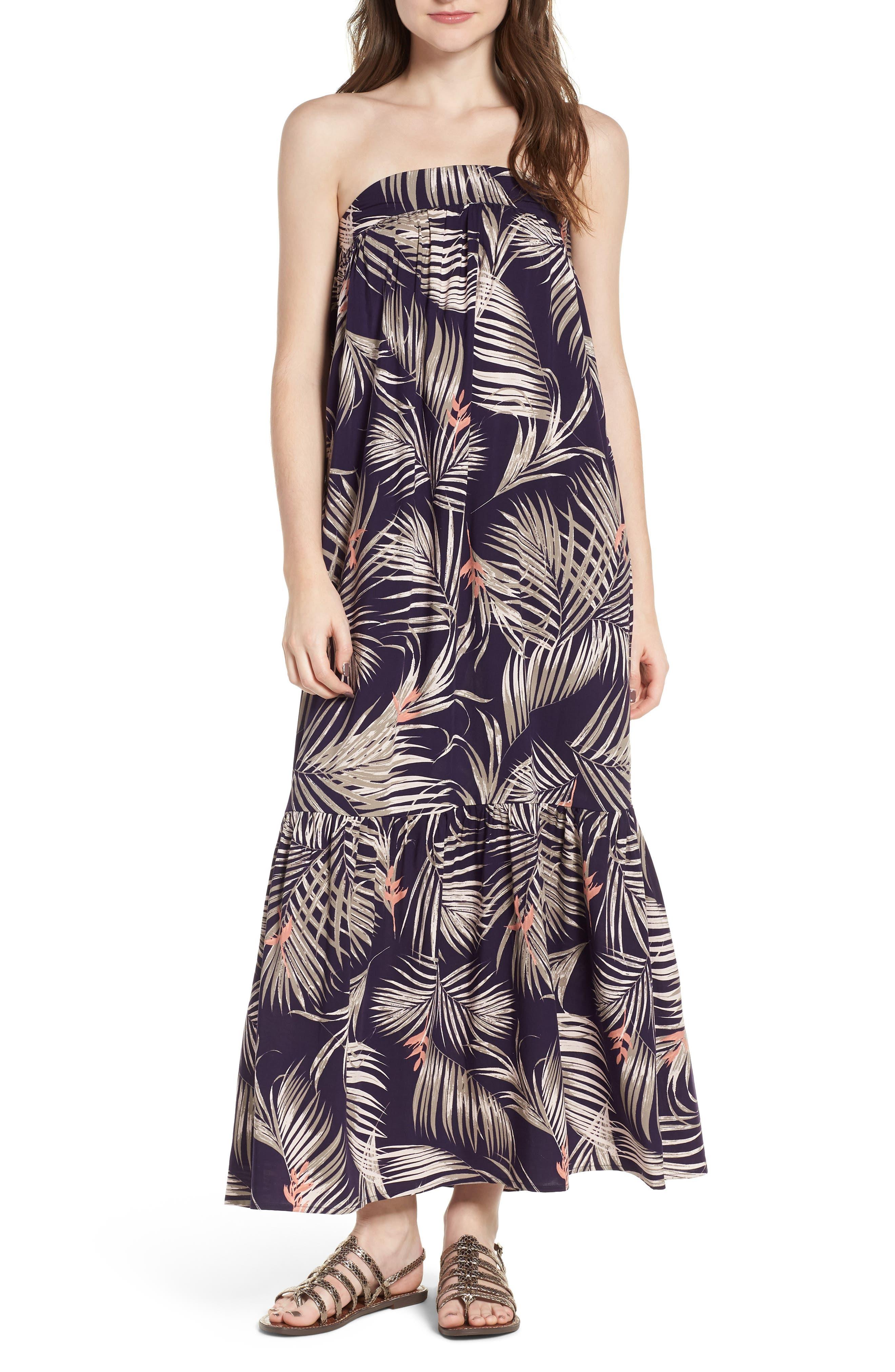 Sunset Cover-Up Maxi Dress,                             Main thumbnail 1, color,                             Latona Palm Evening Blue