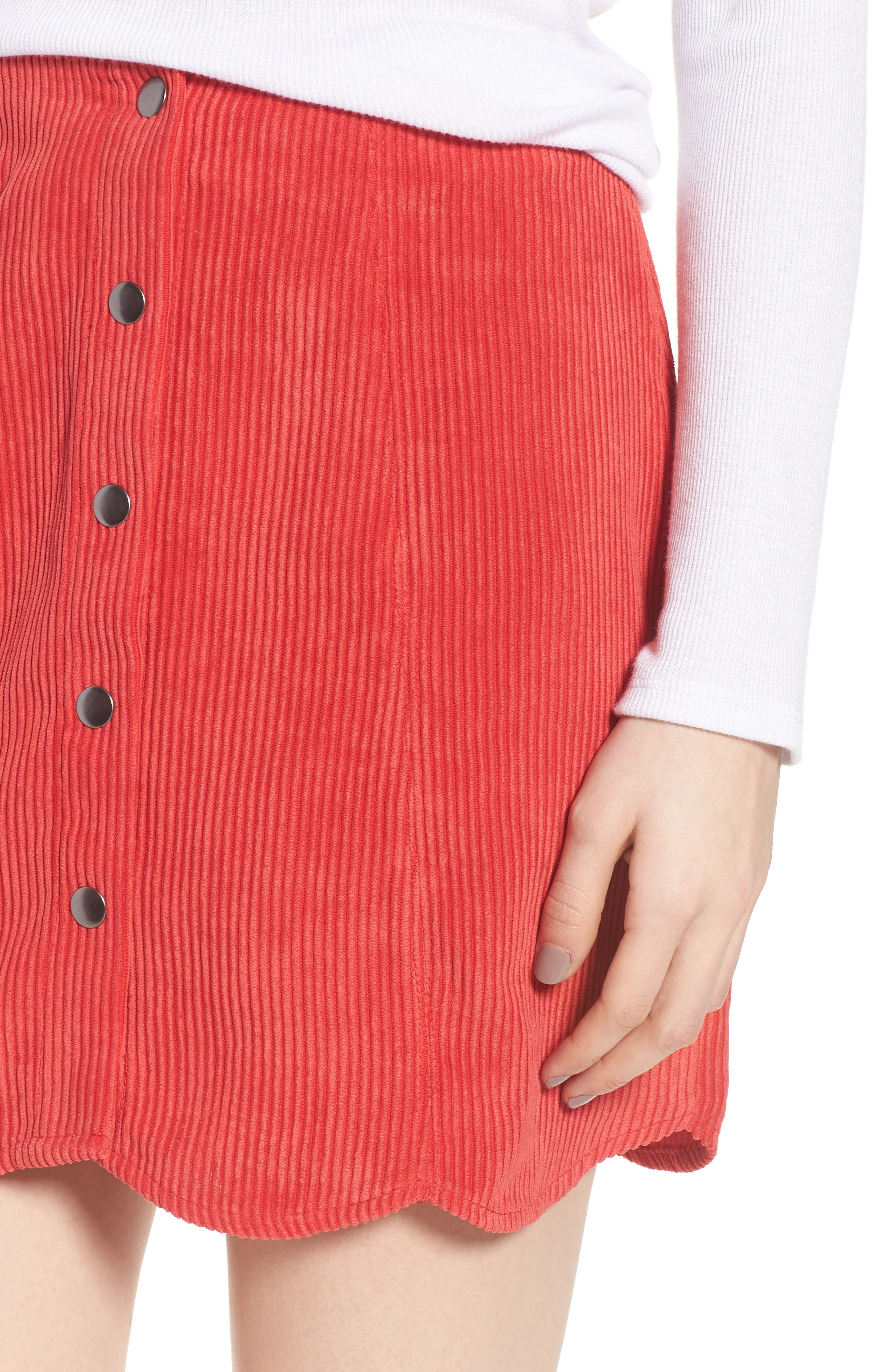 Central Corduroy Scallop Hem Skirt,                             Alternate thumbnail 4, color,                             Red
