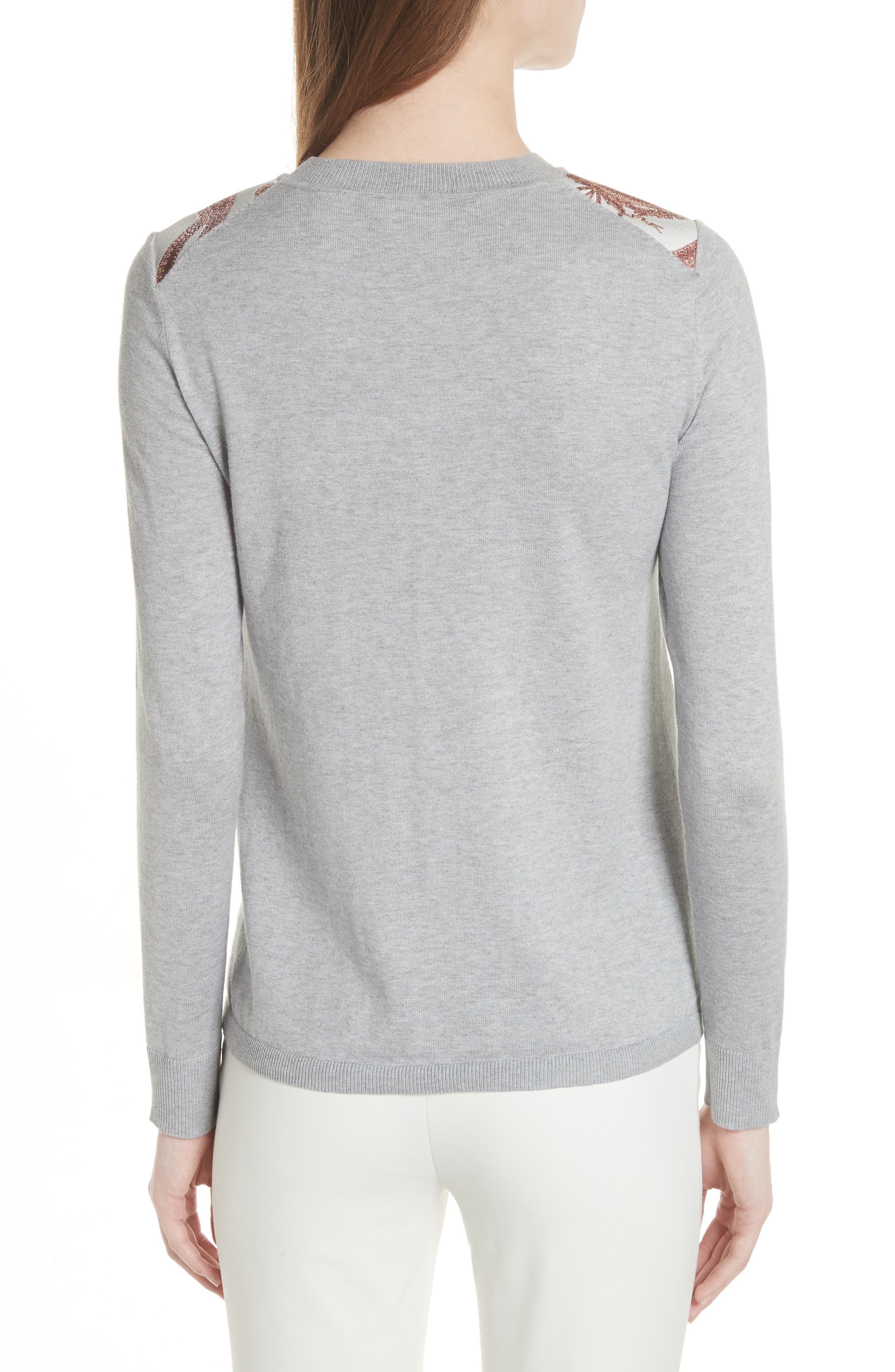 Versailles Jacquard Front Sweater,                             Alternate thumbnail 2, color,                             Light Grey