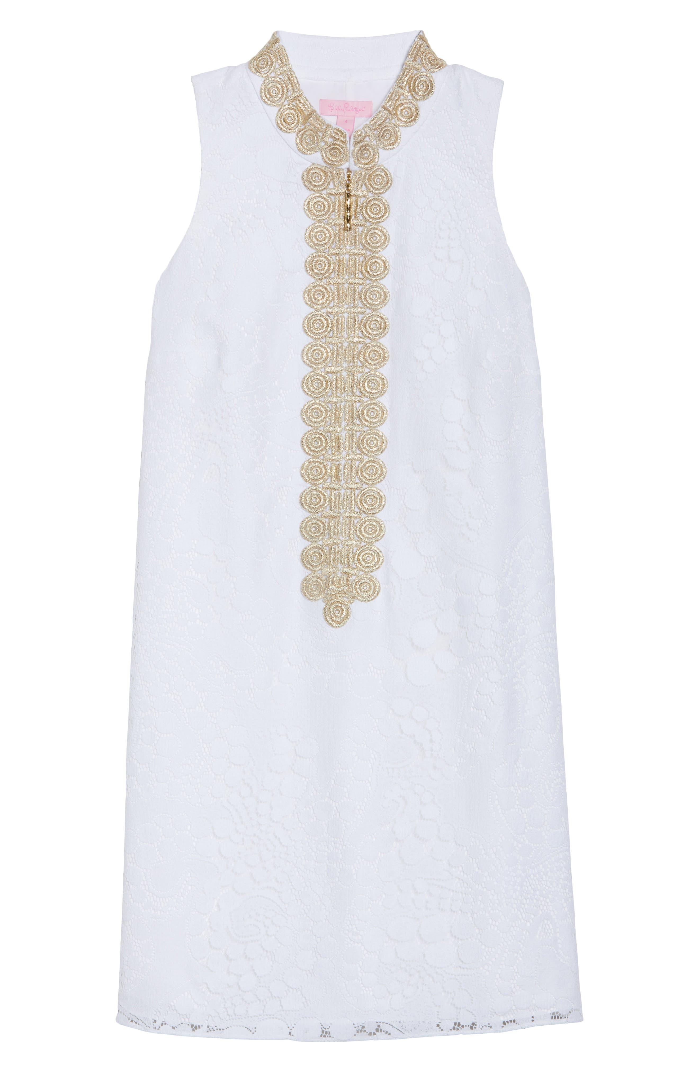 Jane Lace Shift Dress,                             Alternate thumbnail 7, color,                             Resort White Mocean Lace