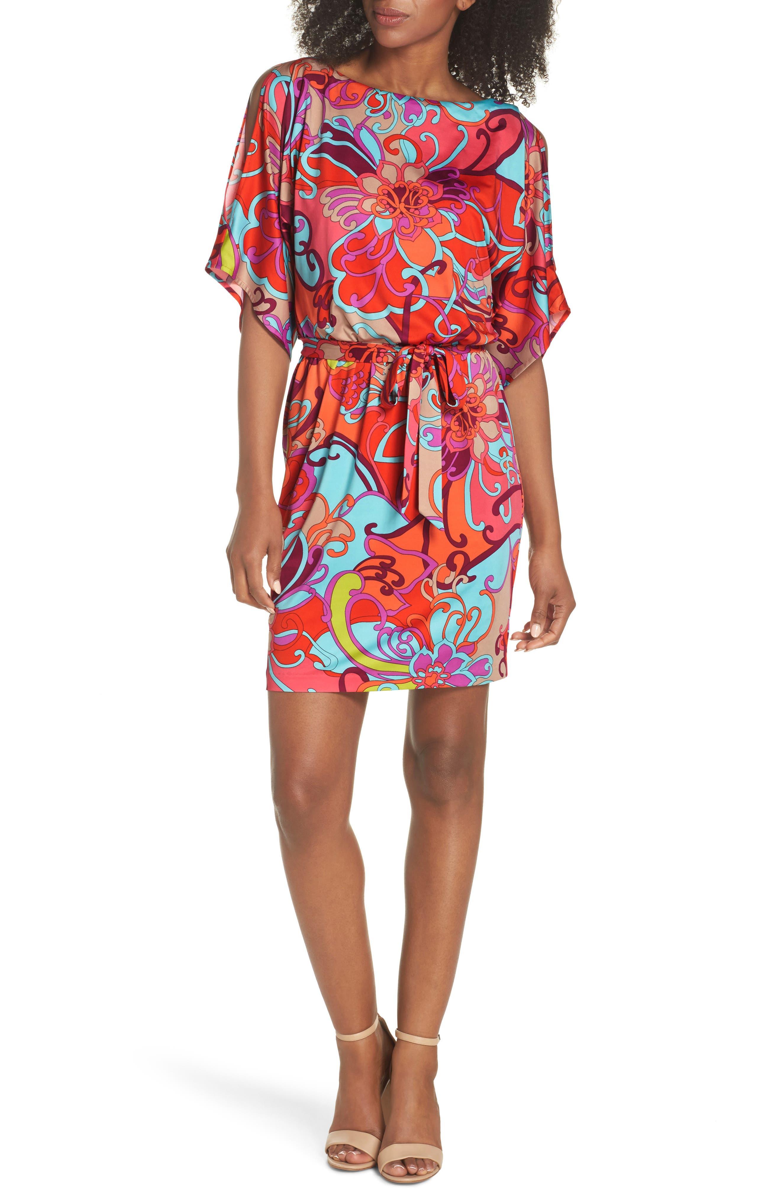 Bernice Print Dress,                         Main,                         color, Coral Lily