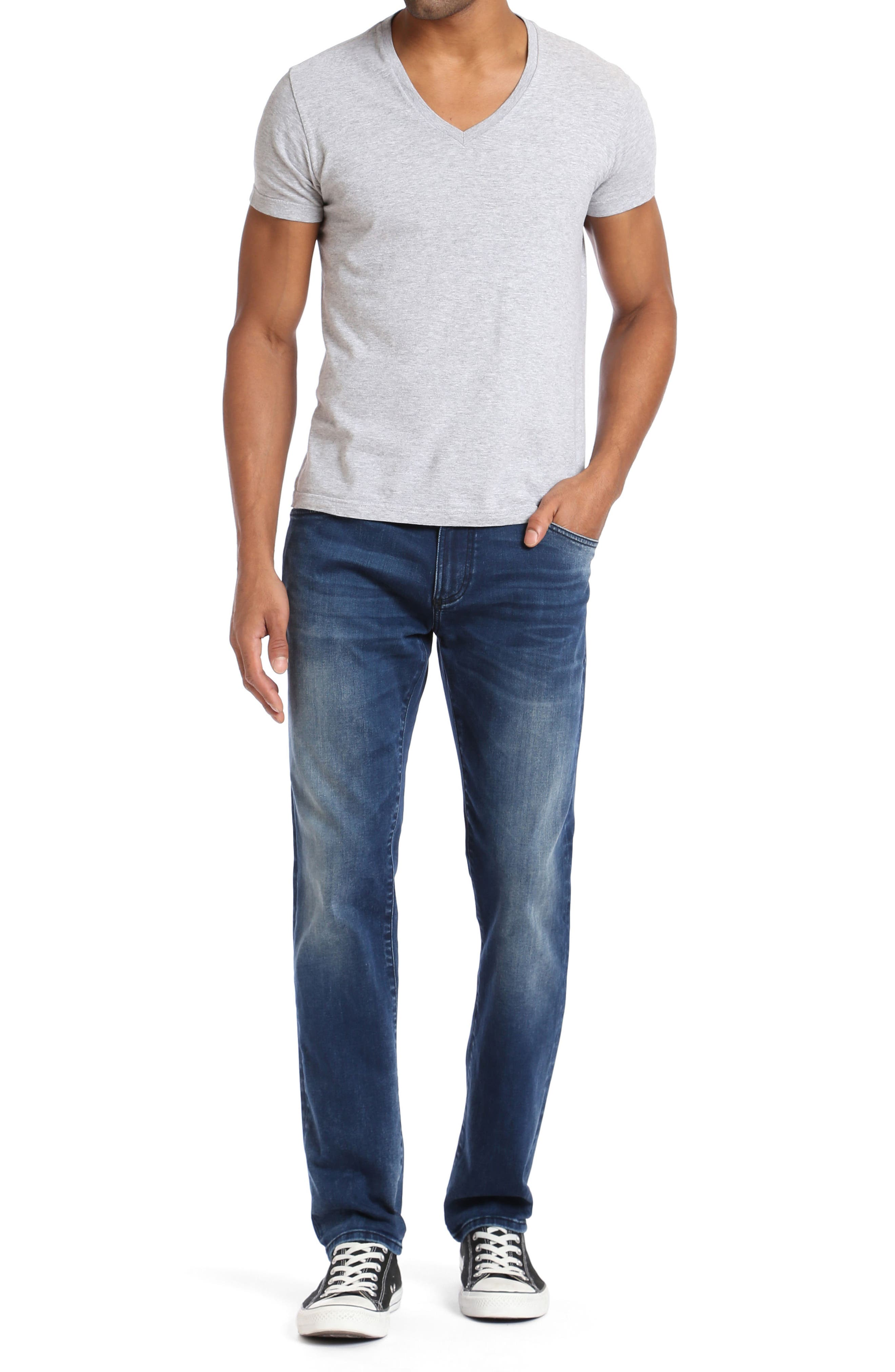 Marcus Slim Straight Leg Jeans,                             Alternate thumbnail 4, color,                             Forest Blue White Edge
