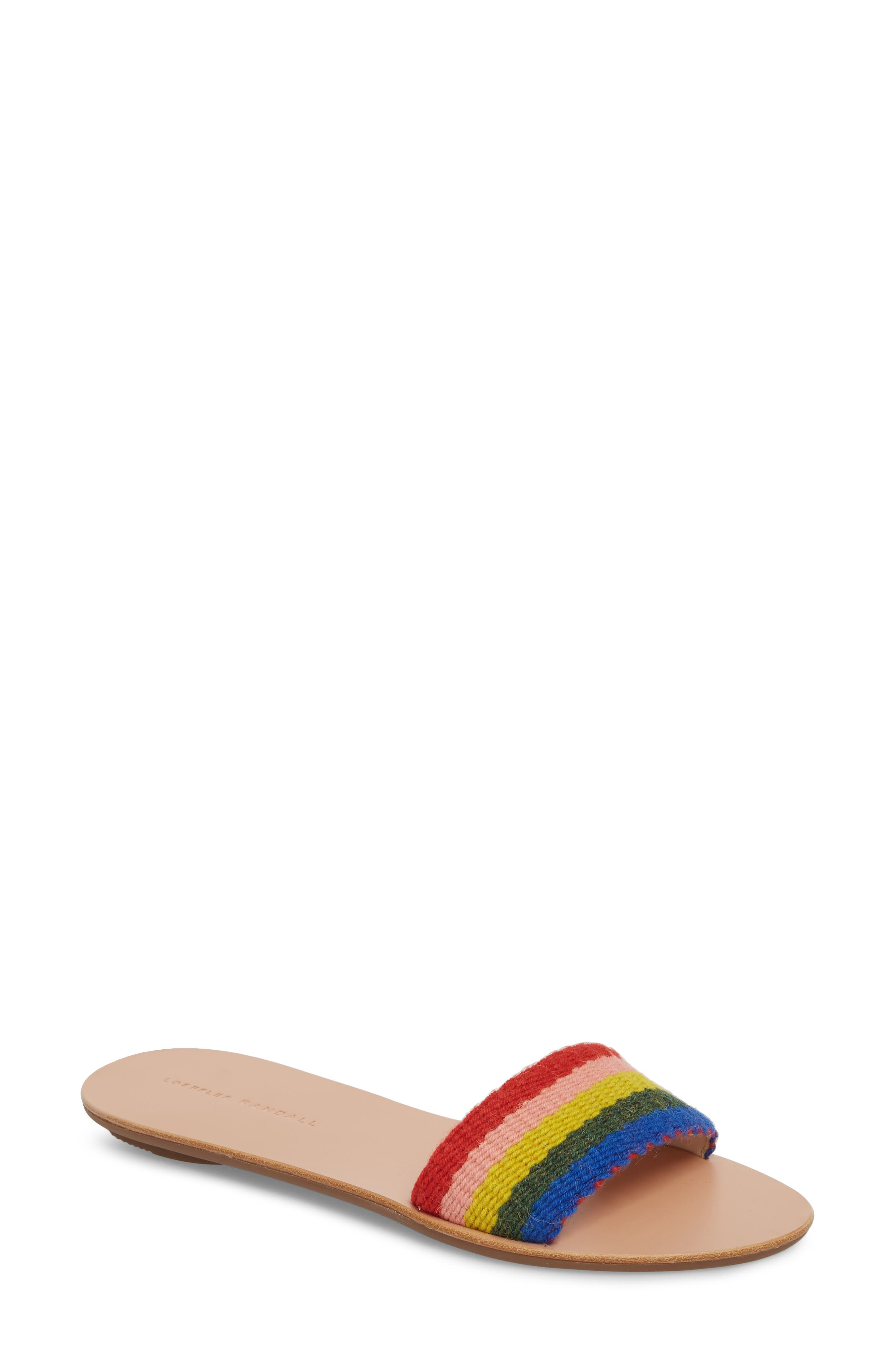 Stella Woven Slide Sandal,                             Main thumbnail 1, color,                             Rainbow Fabric