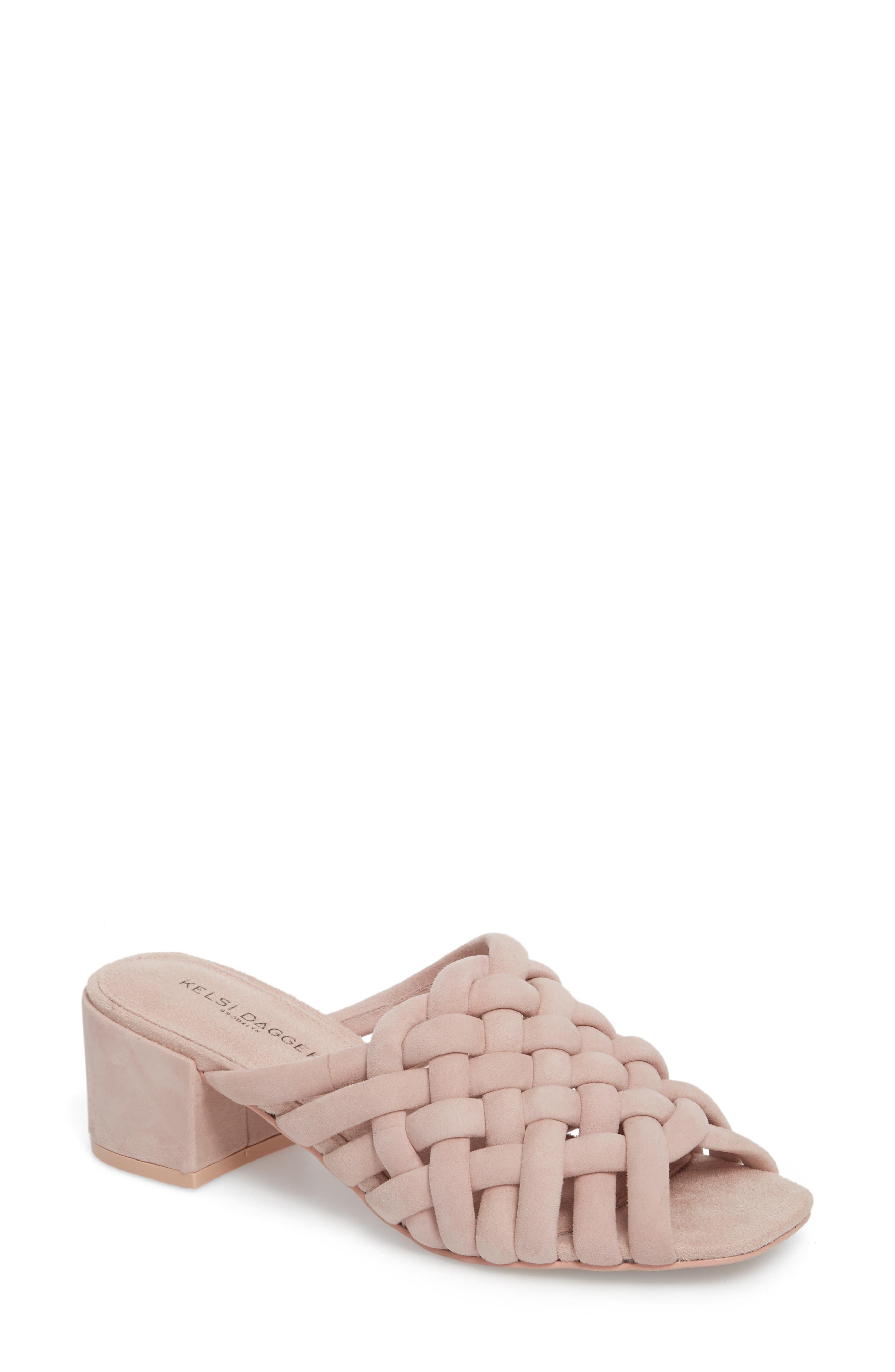 Sky Dress Woven Mule Sandal,                         Main,                         color, Pale Pink