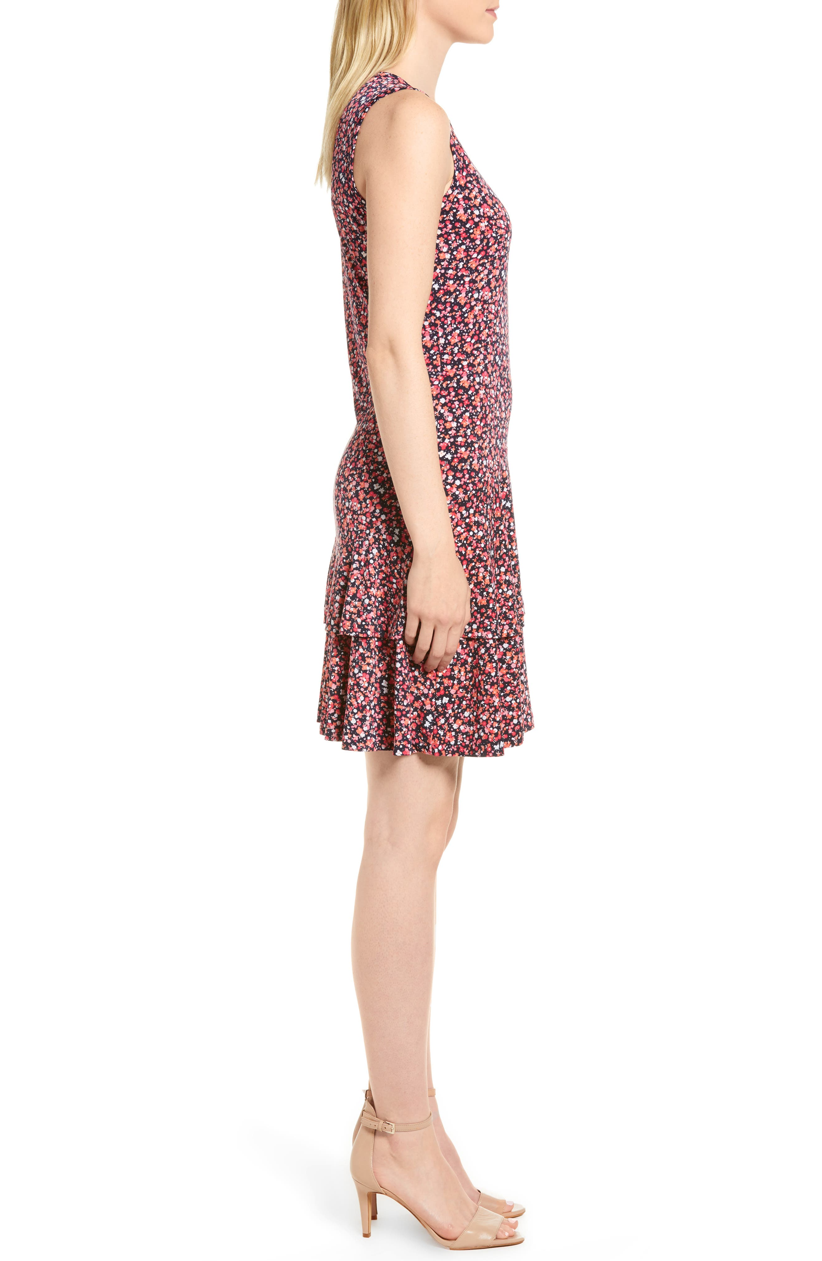 Wildflower Flounce Sleeveless Dress,                             Alternate thumbnail 3, color,                             True Navy/ Bright Blush