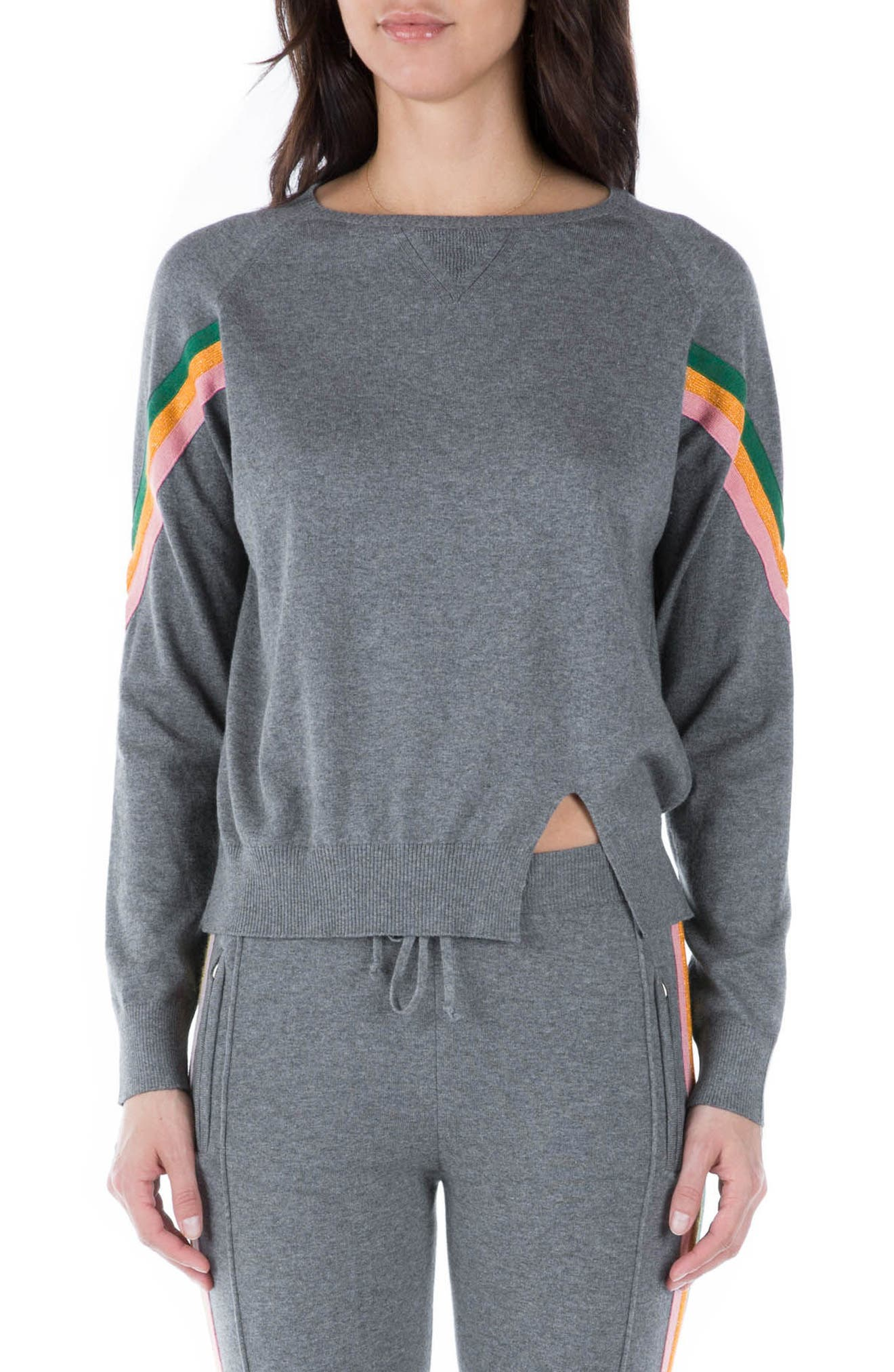 Rainbow Stripe Sweatshirt,                         Main,                         color, Grey Multi