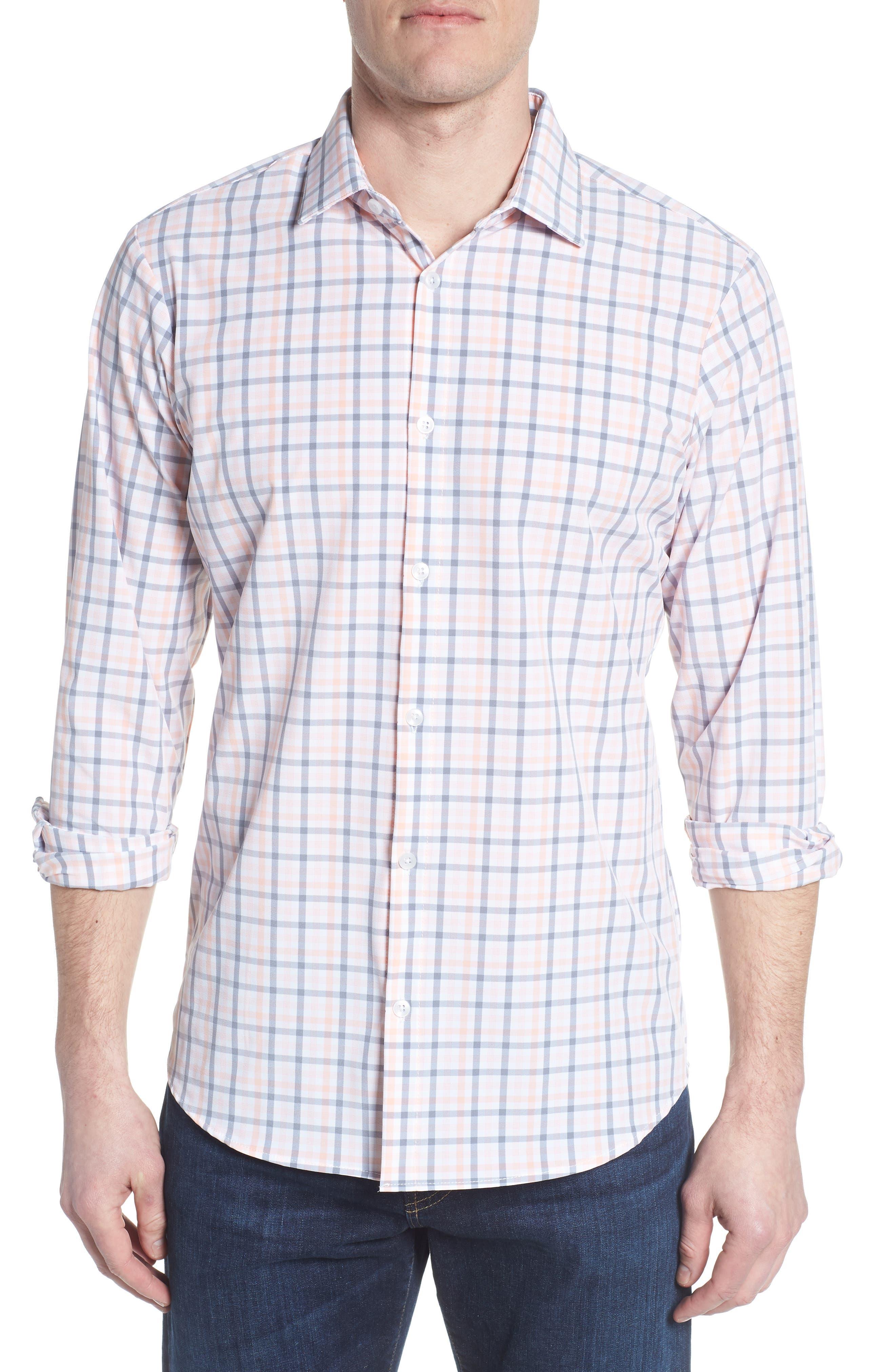 Kimble Check Sport Shirt,                             Main thumbnail 1, color,                             Pink