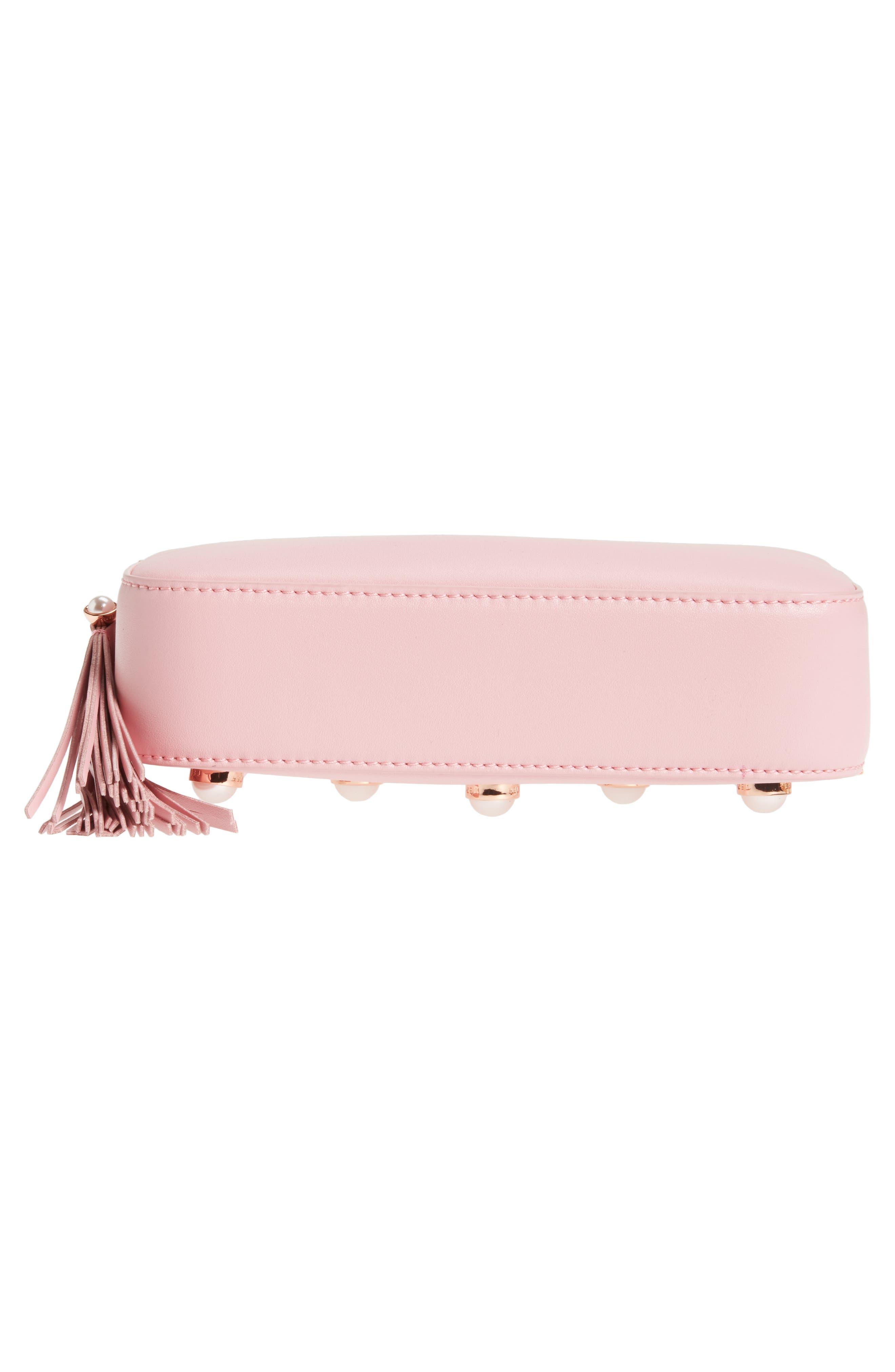 Alessia Imitation Pearl Embellished Leather Crossbody,                             Alternate thumbnail 6, color,                             Dusky Pink