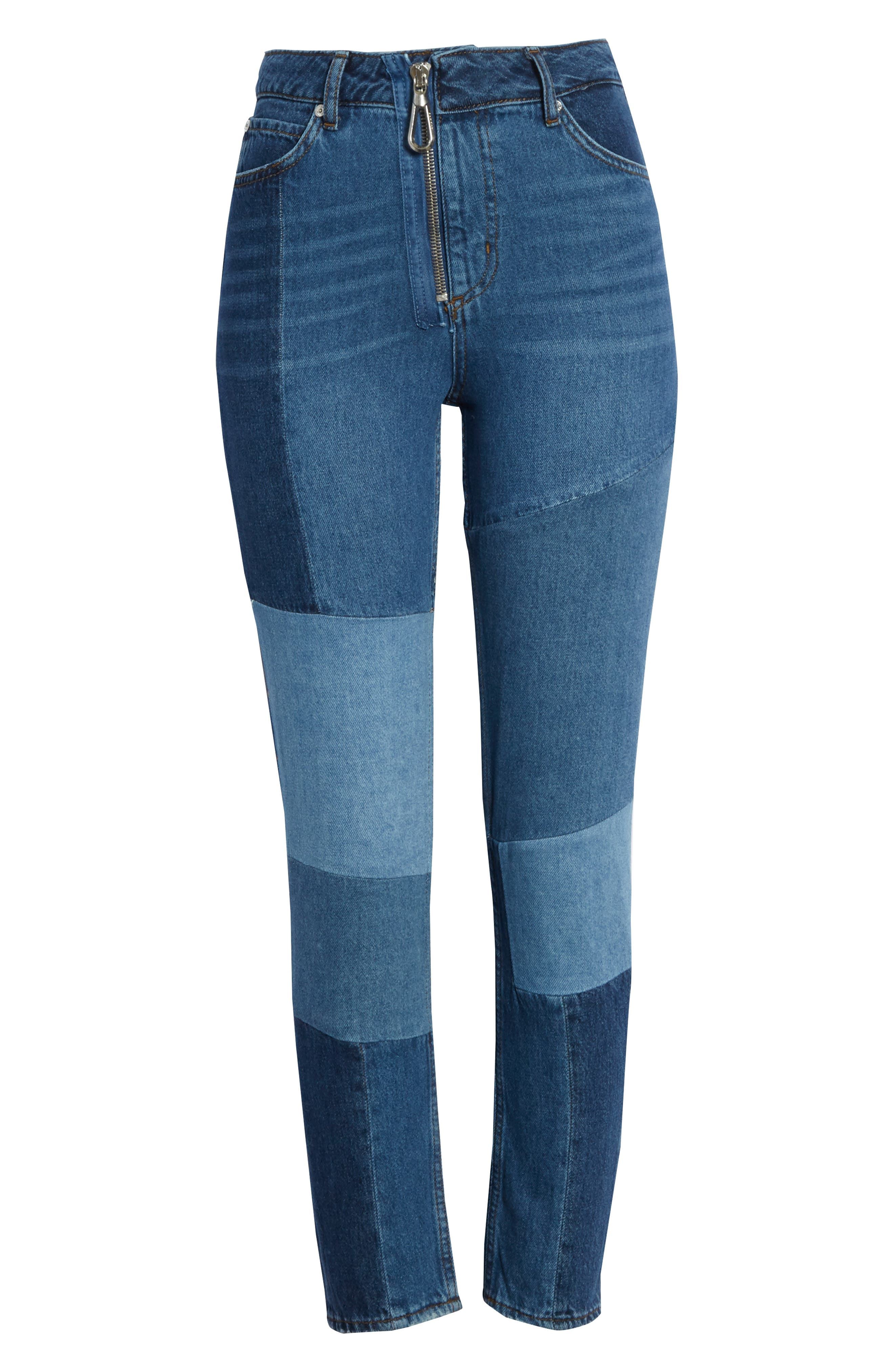 Patch Skinny Jeans,                             Alternate thumbnail 6, color,                             Blue