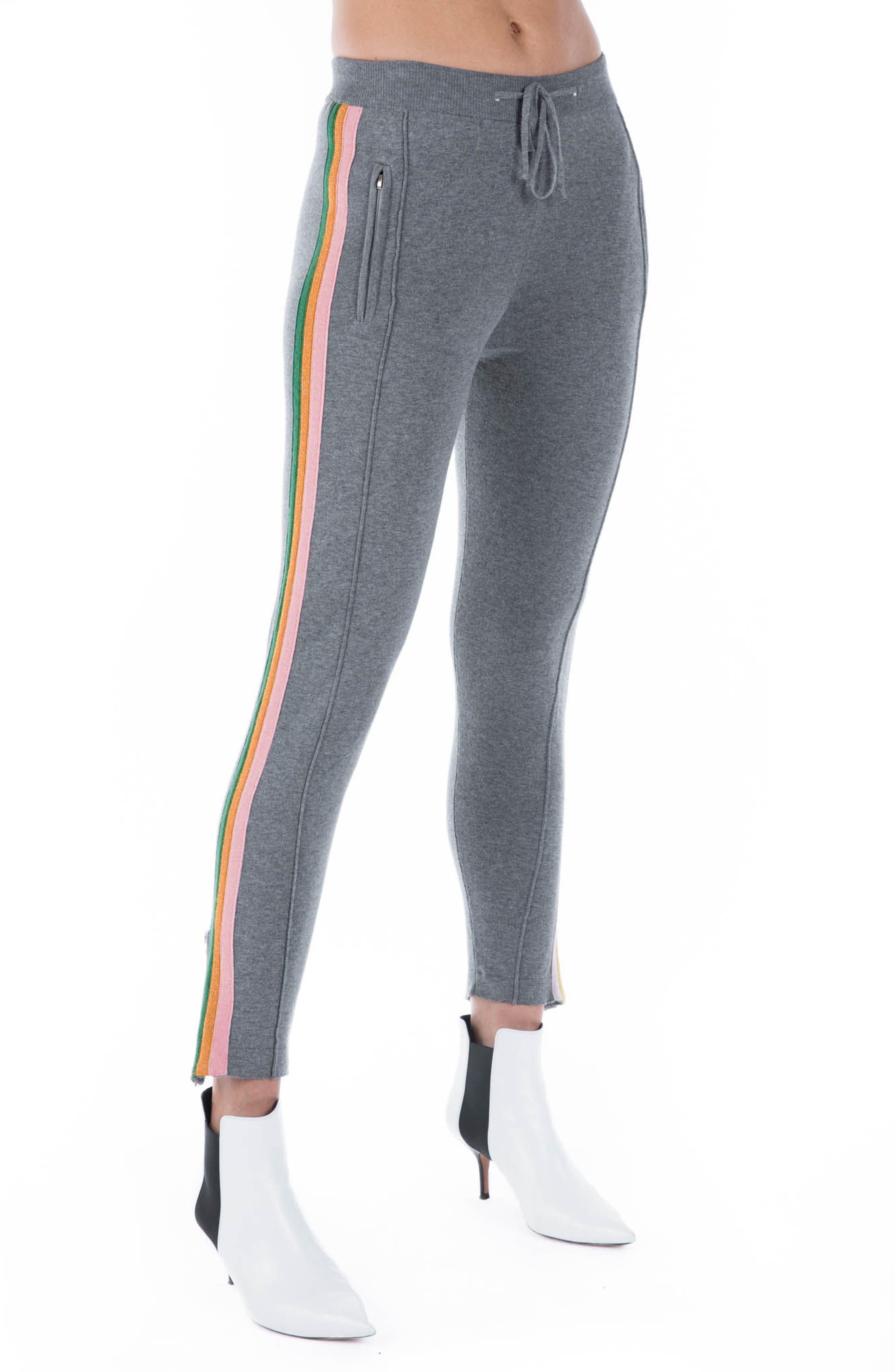 Rainbow Stripe Crop Sweatpants,                             Alternate thumbnail 2, color,                             Grey Multi
