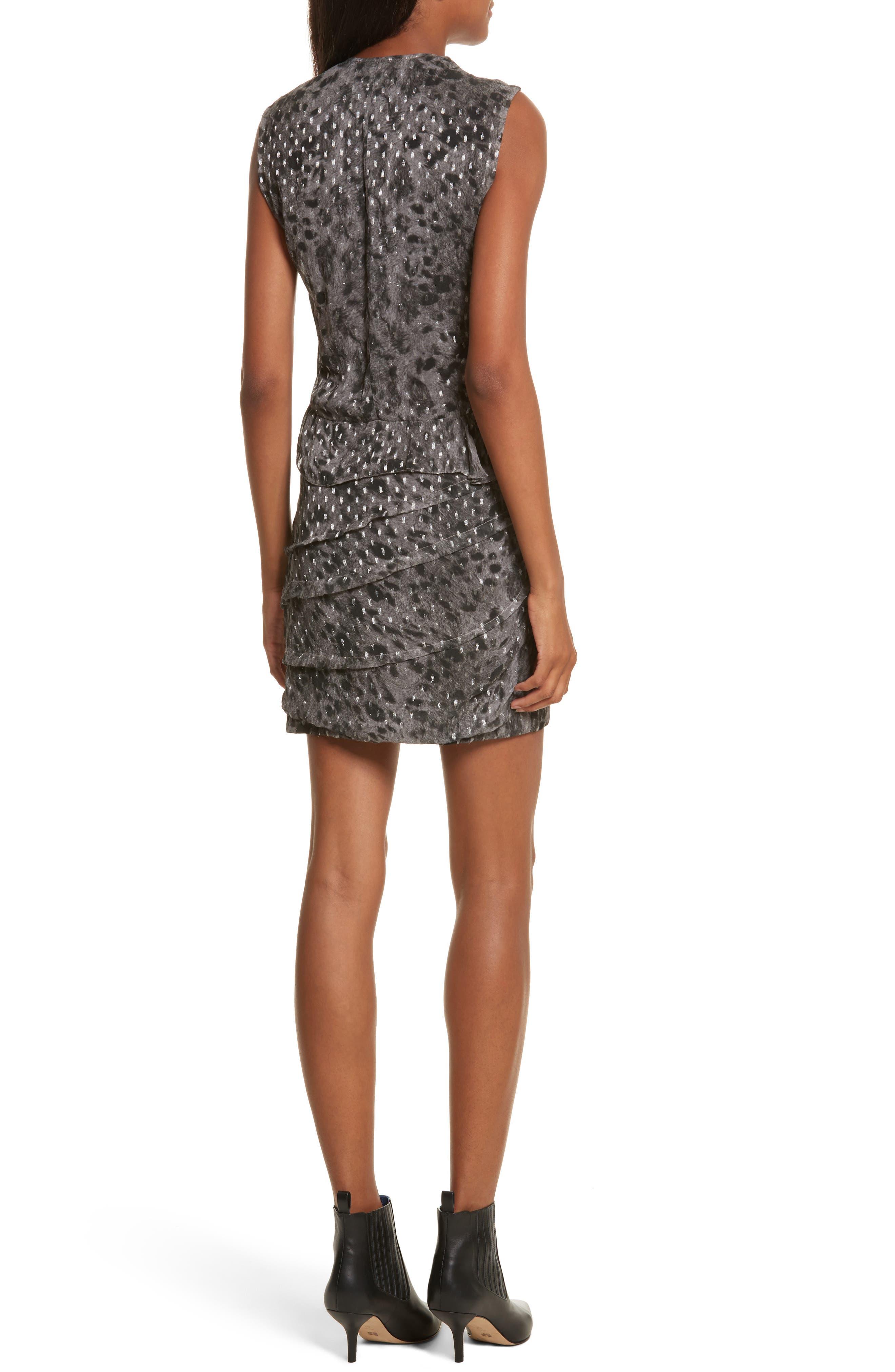 Corie Metallic Fil Coupé Dress,                             Alternate thumbnail 2, color,                             Charcoal