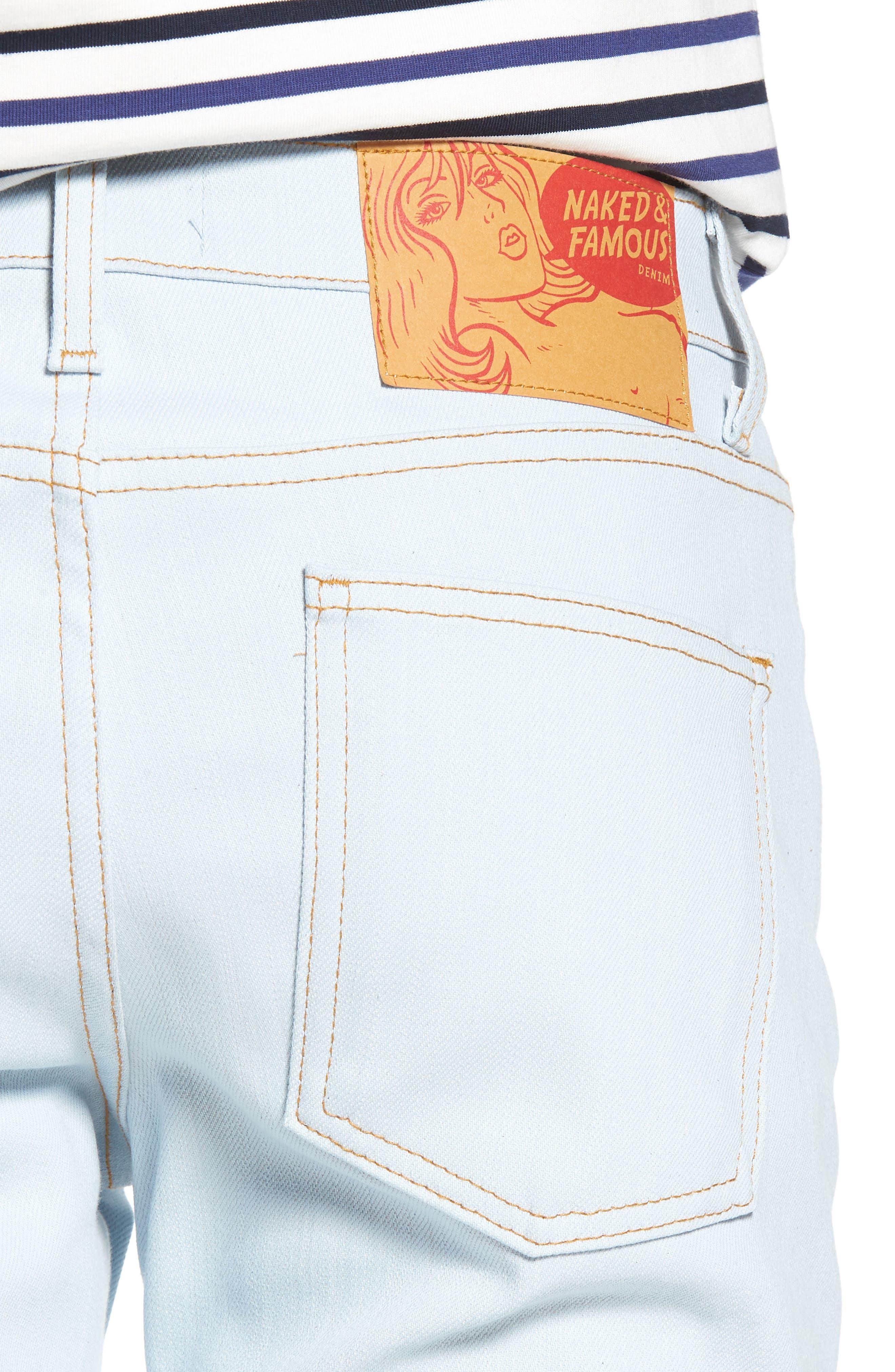 Naked & Famous Super Skinny Guy Skinny Fit Jeans,                             Alternate thumbnail 4, color,                             Powder Blue